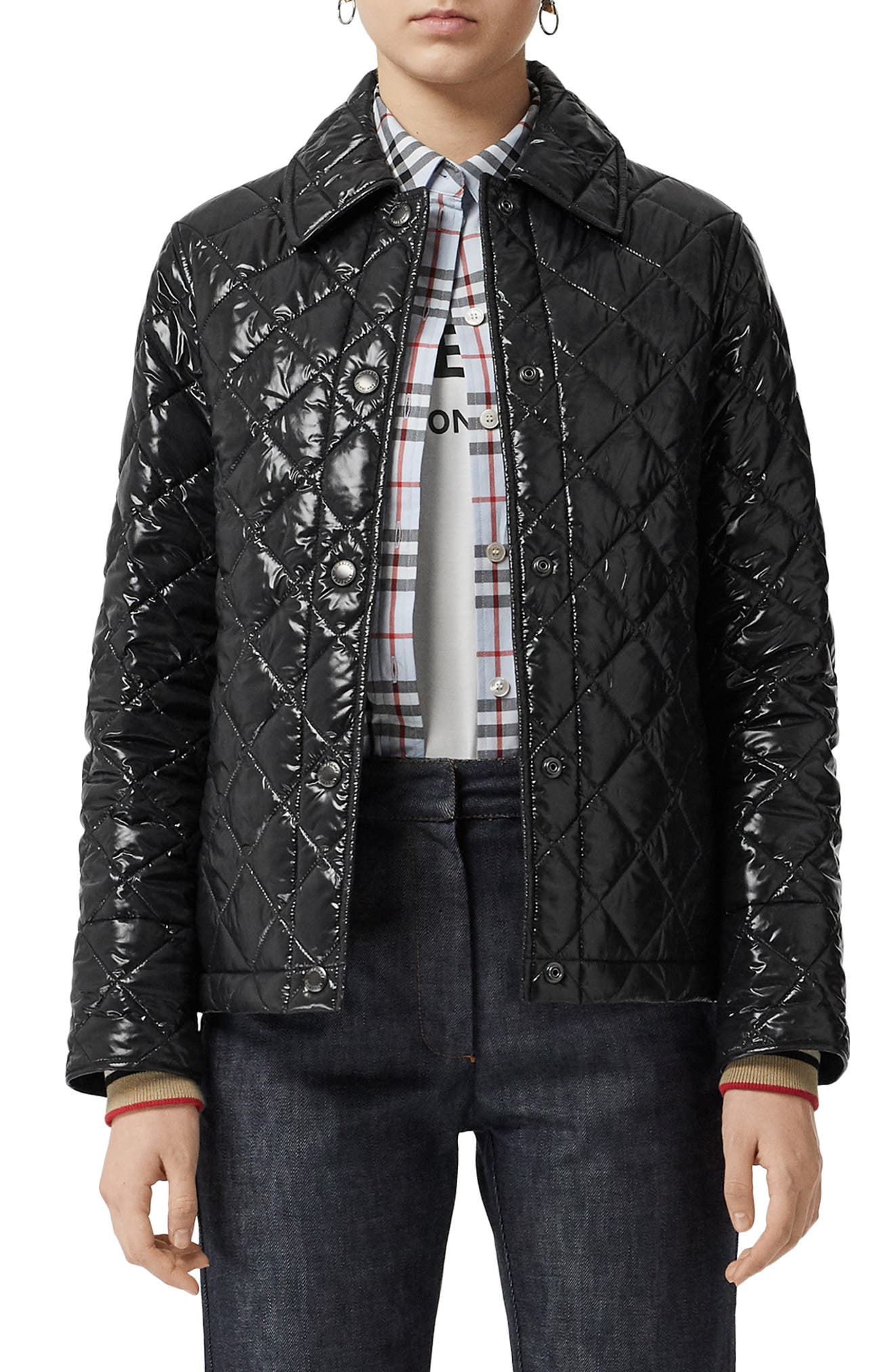 BURBERRY, Heathfield Frinton Knit Cuff Quilted Jacket, Main thumbnail 1, color, BLACK