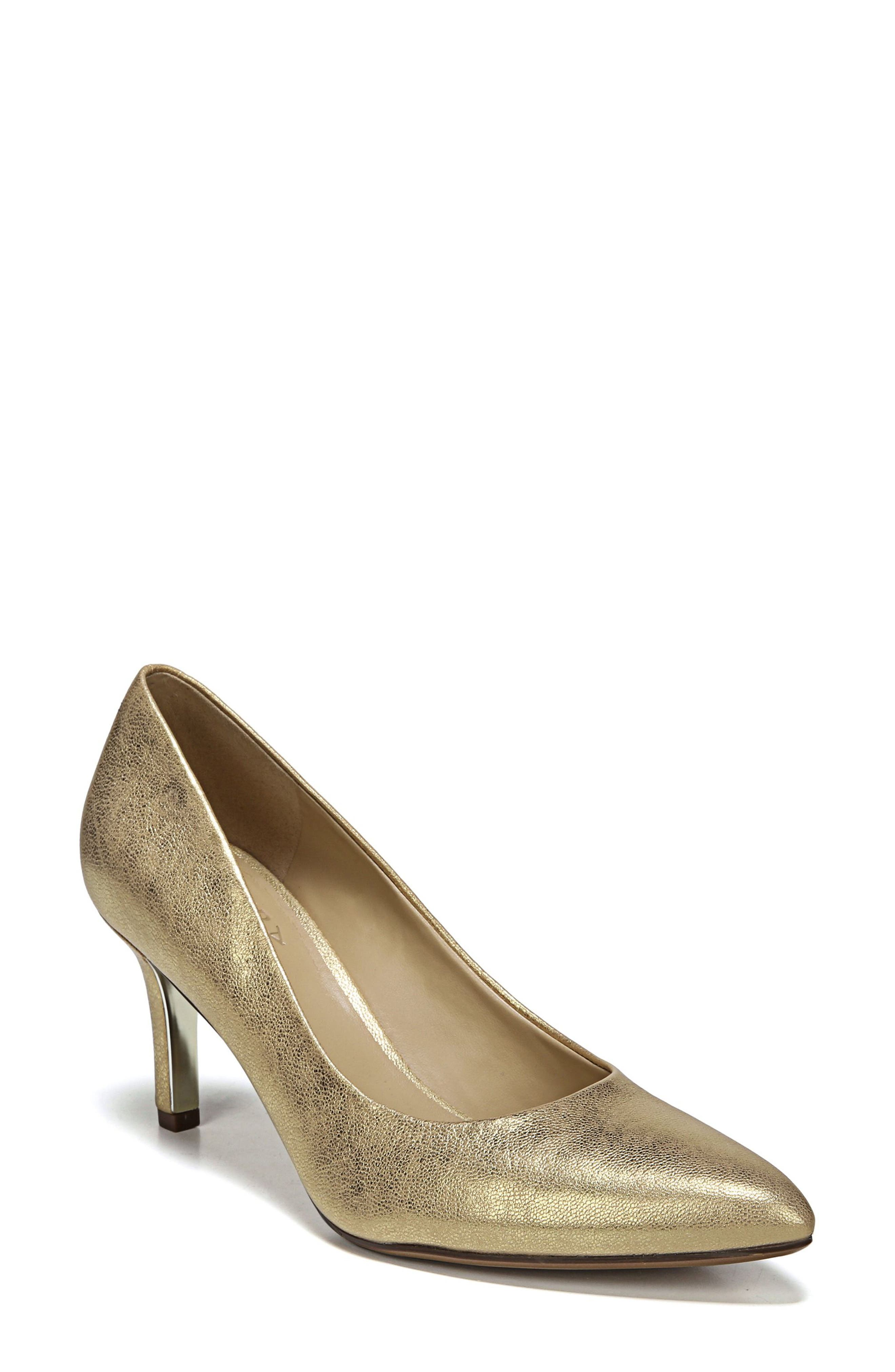 NATURALIZER, Natalie Pointy Toe Pump, Alternate thumbnail 8, color, GOLD LEATHER