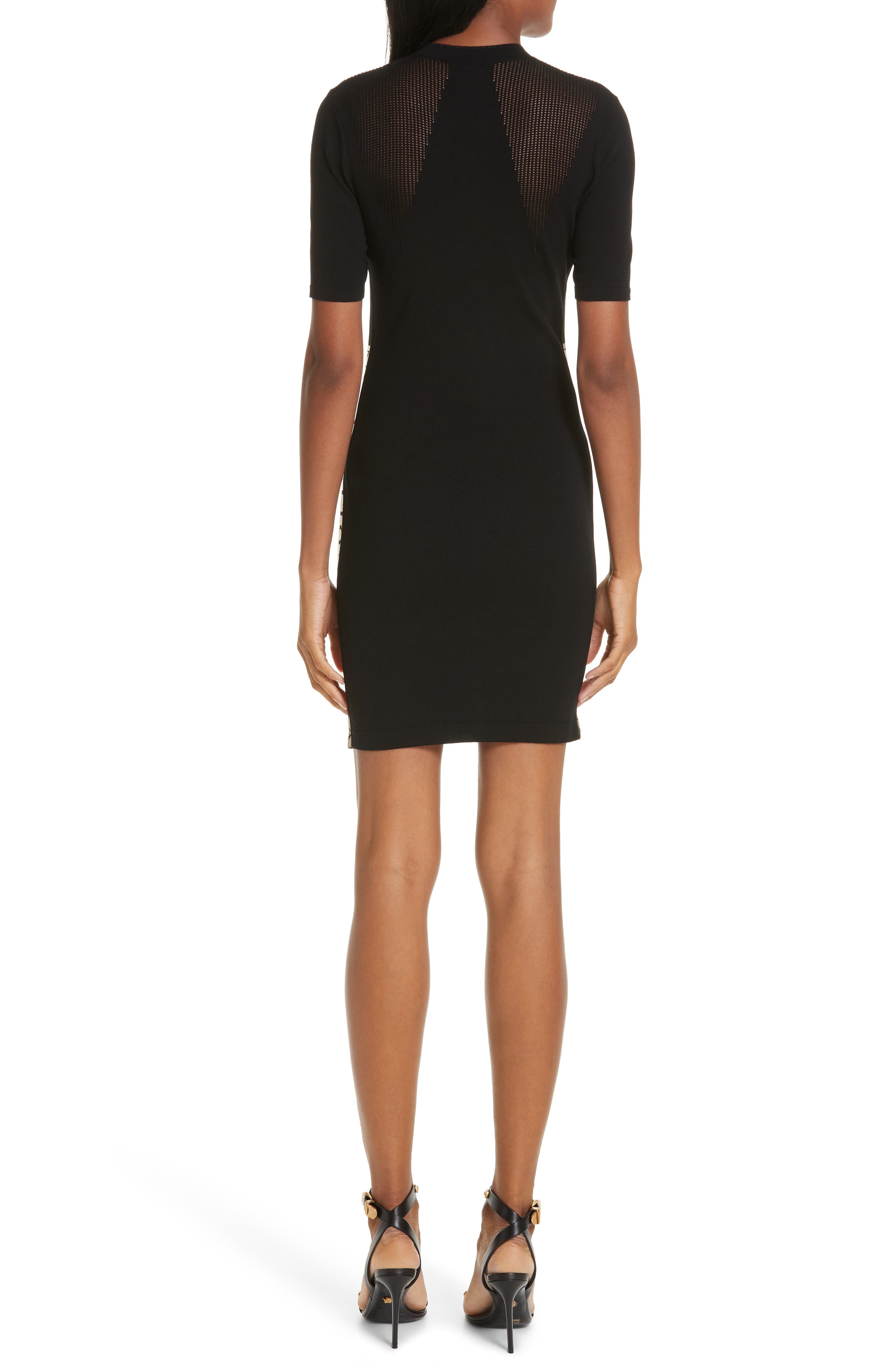 VERSACE COLLECTION, Logo Trim Body-Con Dress, Alternate thumbnail 2, color, BLACK