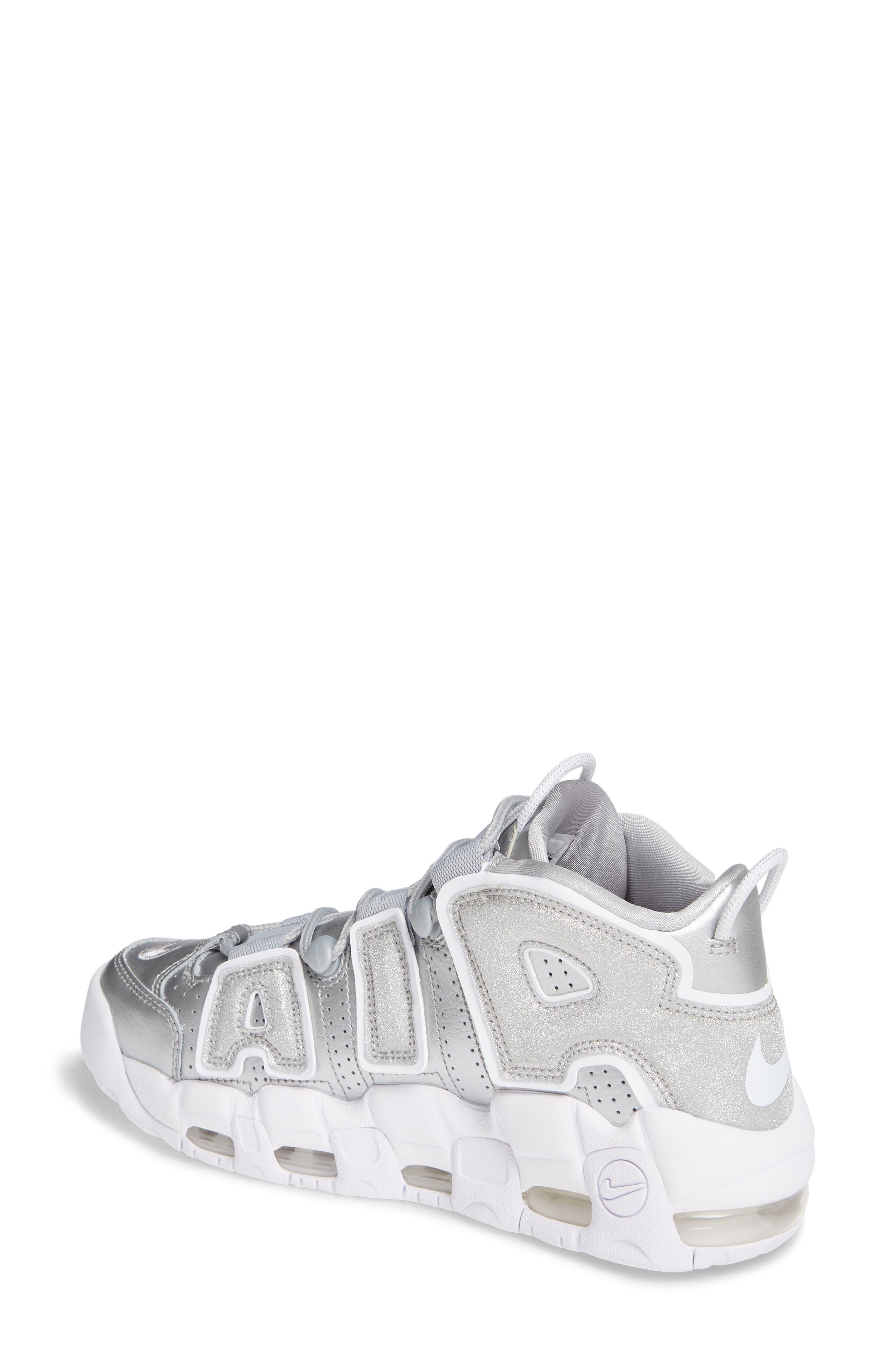 NIKE, Air More Uptempo Sneaker, Alternate thumbnail 2, color, METALLIC SILVER