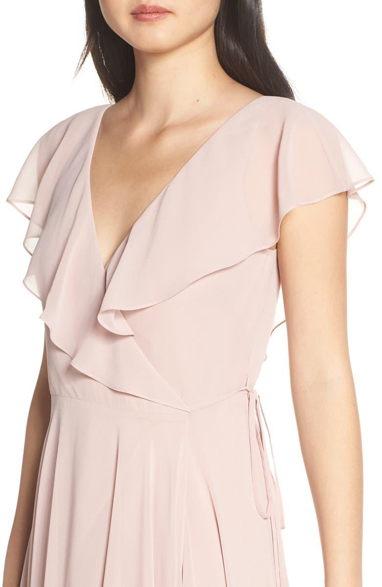 afb791342a9b Jenny Yoo Faye Ruffle Wrap Chiffon Evening Dress In Whipped Apricot ...