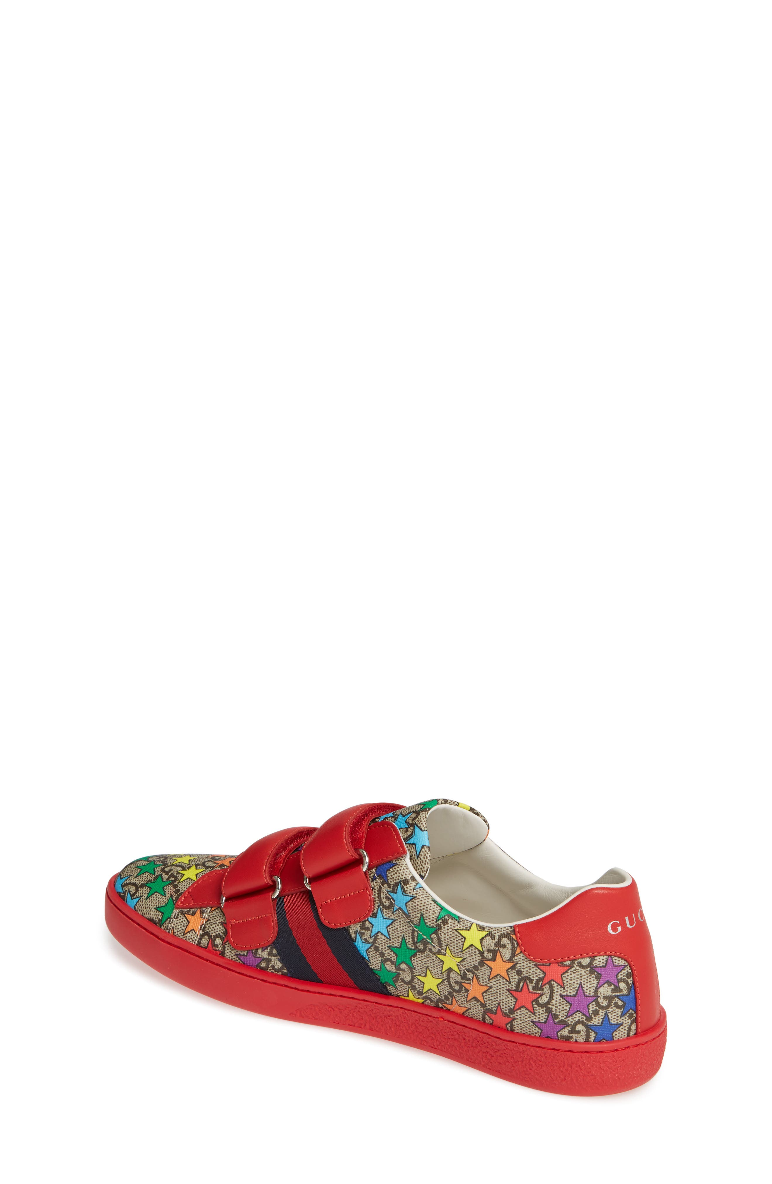 GUCCI, New Ace Sneaker, Alternate thumbnail 2, color, RED/ BEIGE/ EBONY