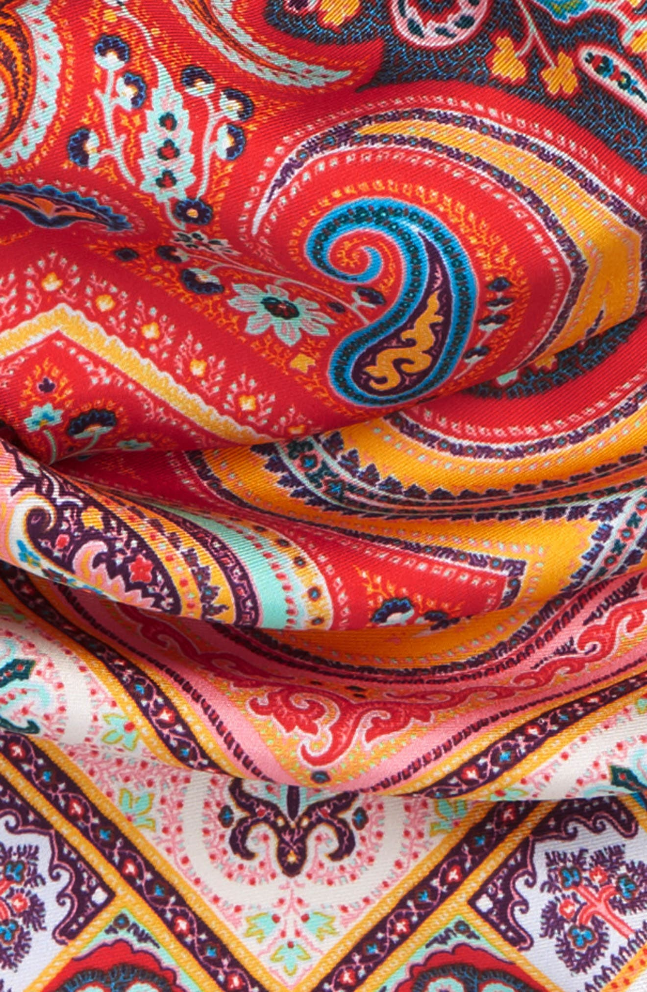 ETRO, Silk Triangle Scarf, Alternate thumbnail 3, color, ORANGE