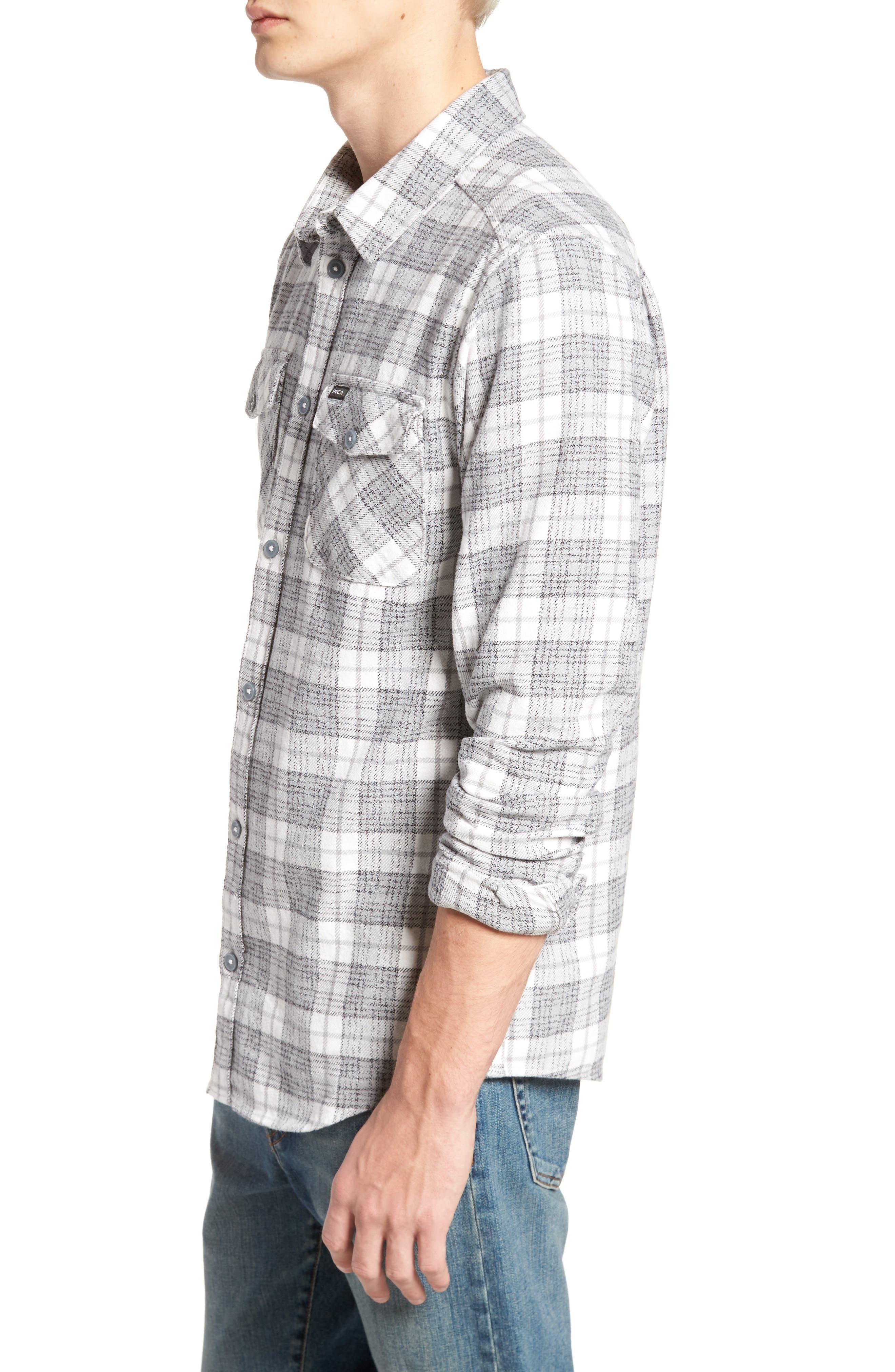 RVCA, 'That'll Work' Trim Fit Plaid Flannel Shirt, Alternate thumbnail 3, color, ANTIQUE WHITE