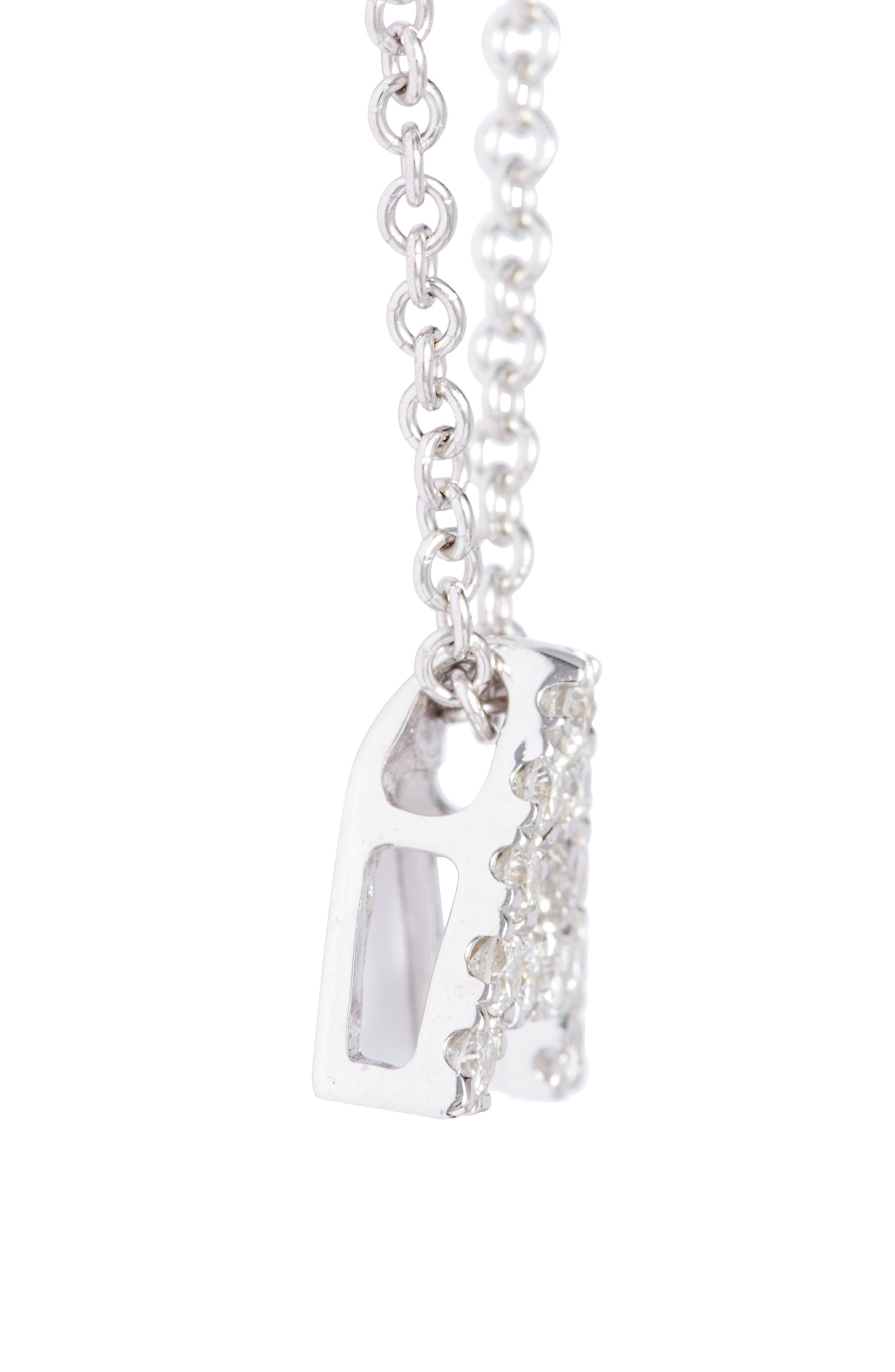 BONY LEVY, 18k Gold Pavé Diamond Initial Pendant Necklace, Alternate thumbnail 5, color, WHITE GOLD - A