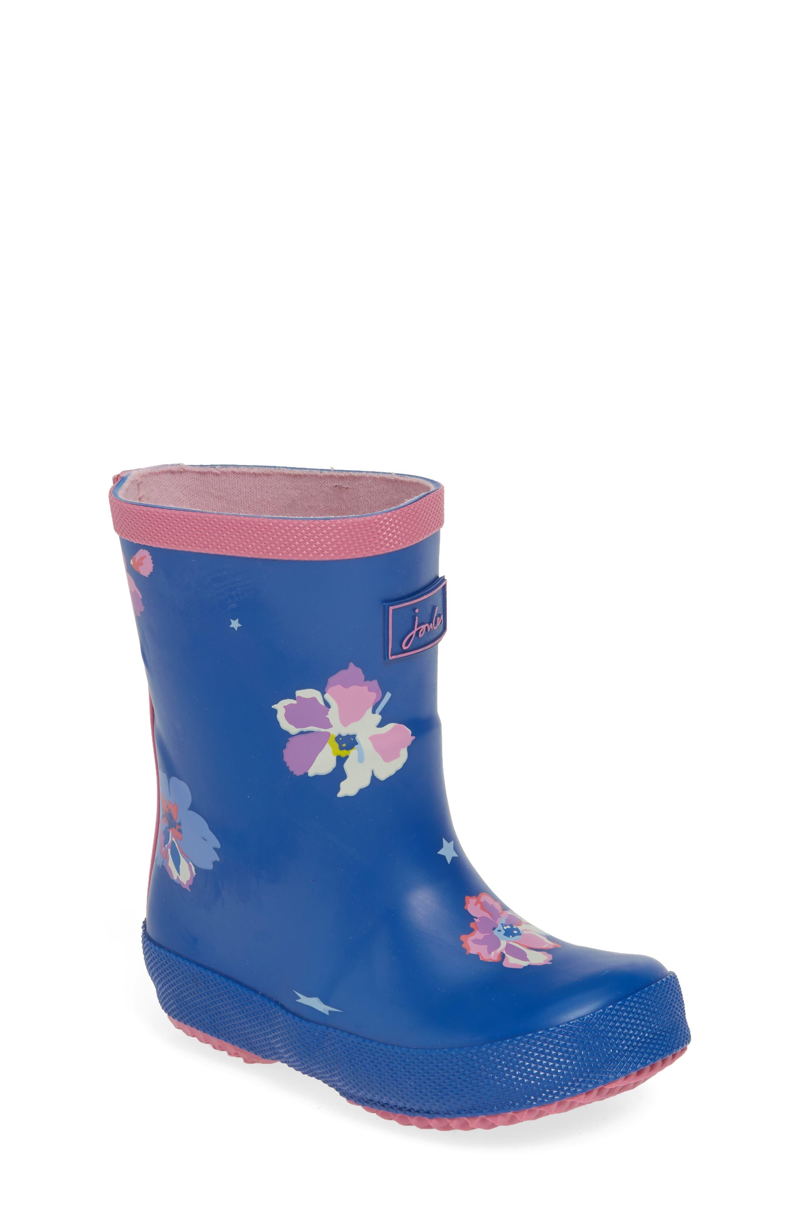 JOULES, Print Waterproof Rain Boot, Main thumbnail 1, color, BLUE CONFETTI FLORAL