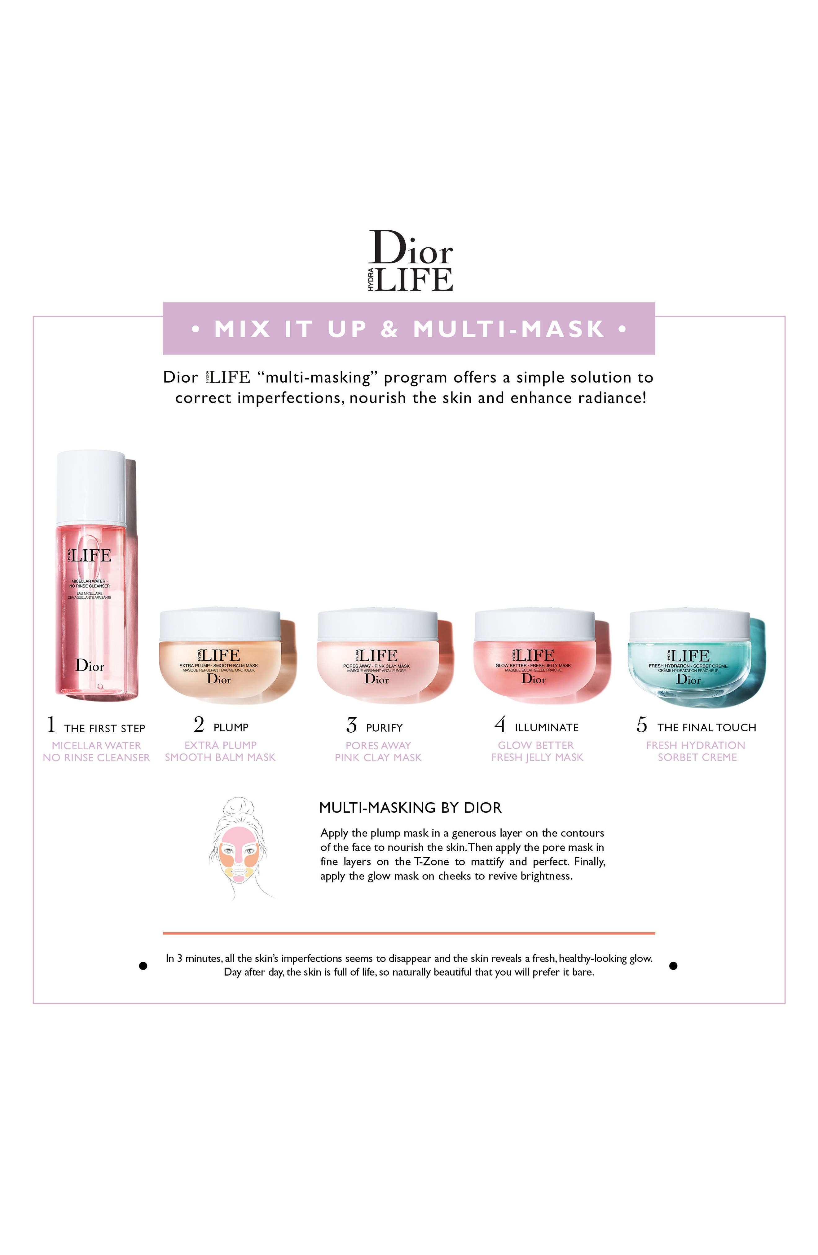 DIOR, Hydra Life Micellar Water No Rinse Cleanser, Alternate thumbnail 2, color, NO COLOR