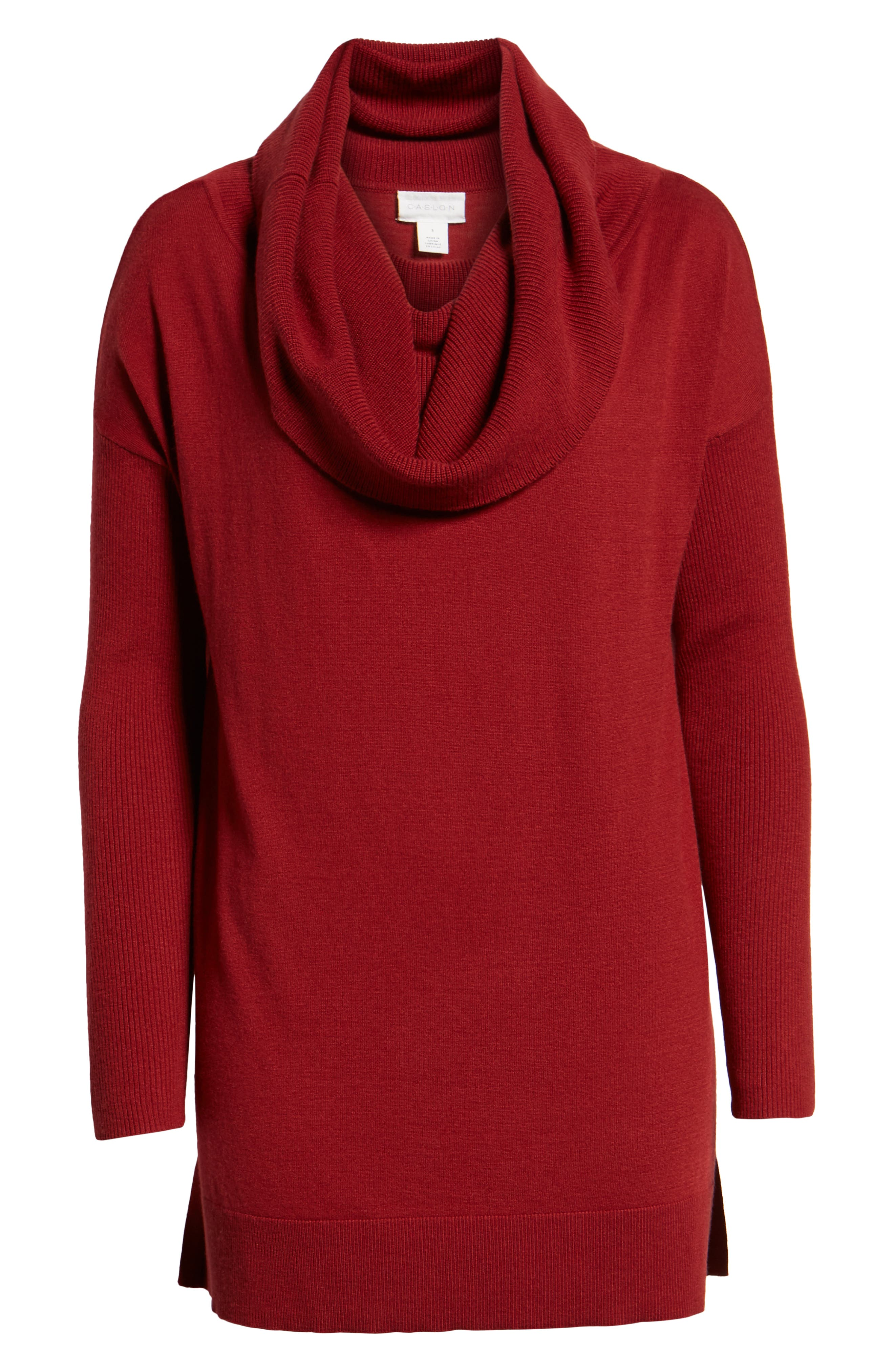 CASLON<SUP>®</SUP>, Side Slit Convertible Cowl Neck Tunic, Alternate thumbnail 6, color, RED SUN