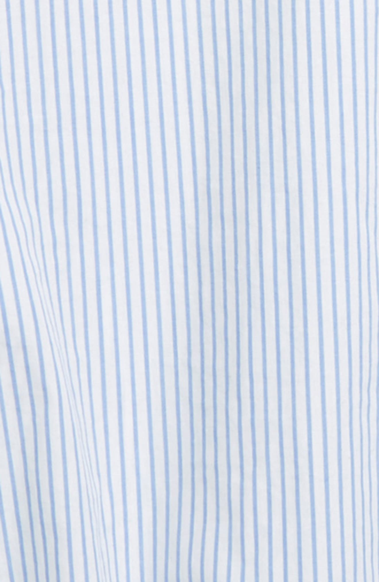 SOMETHING NAVY, Bubble Sleeve Top, Alternate thumbnail 3, color, WHITE- BLUE STRIPE