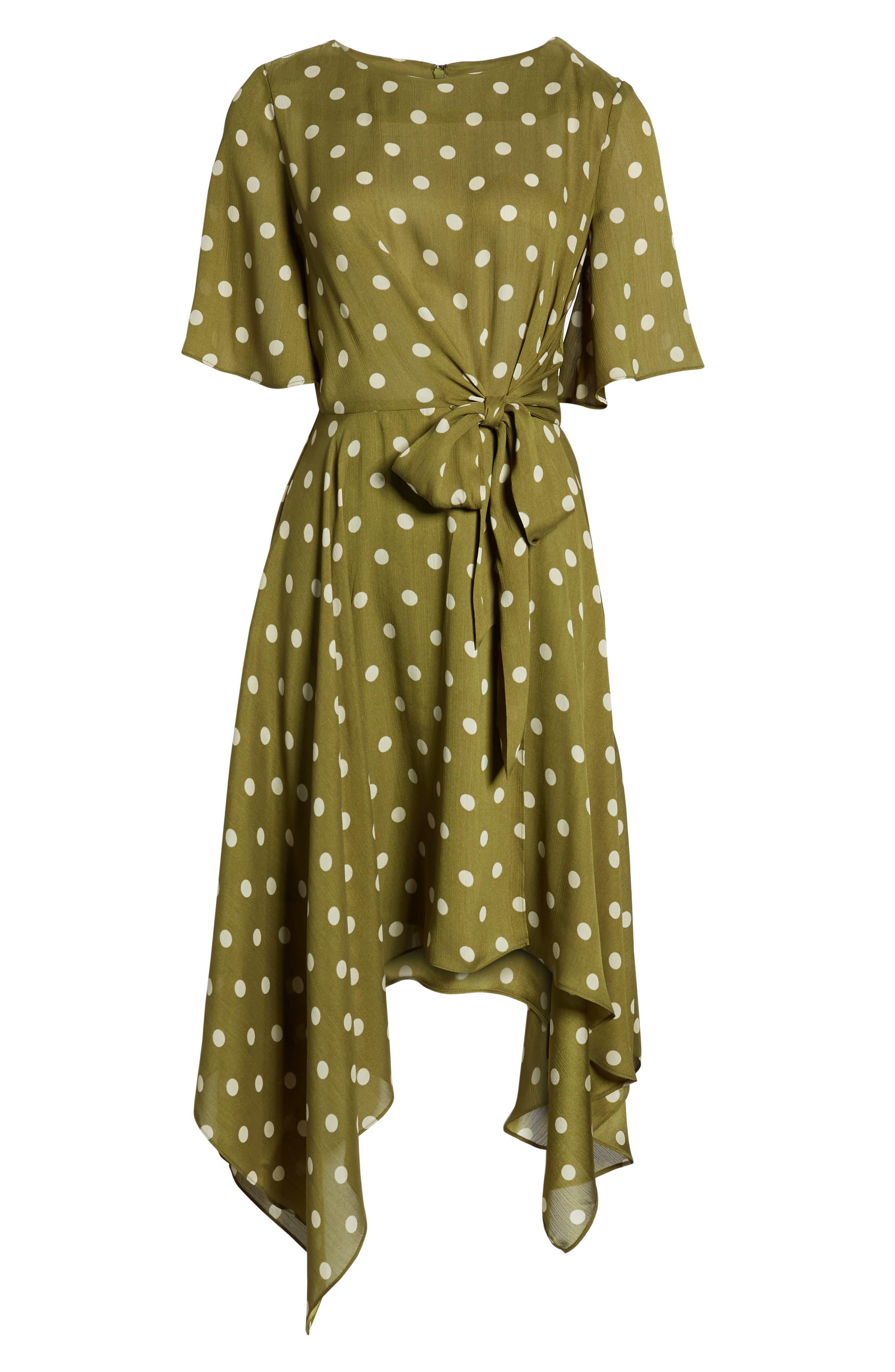 CHRISELLE LIM COLLECTION, Chriselle Lim Marie Handkerchief Hem Midi Dress, Alternate thumbnail 7, color, CREAM/ OLIVE