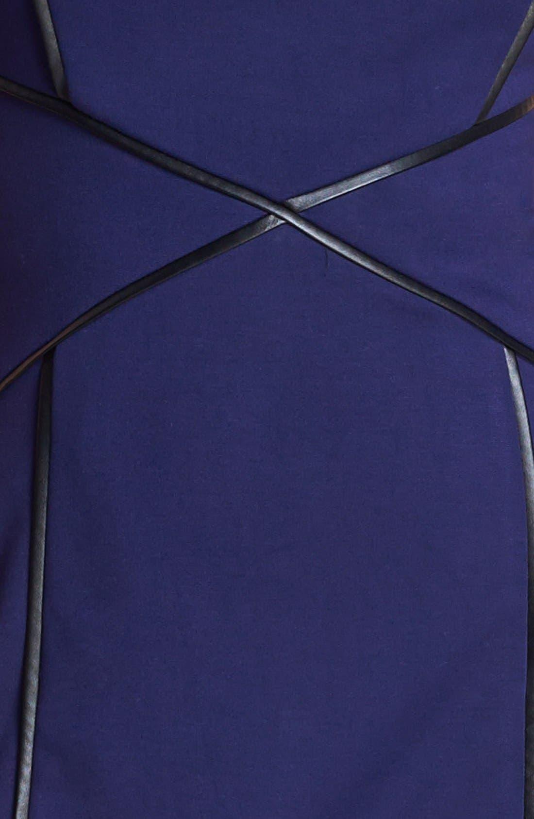 CYNTHIA STEFFE, Cap Sleeve Faux Leather Trim Ponte Sheath Dress, Alternate thumbnail 2, color, 508