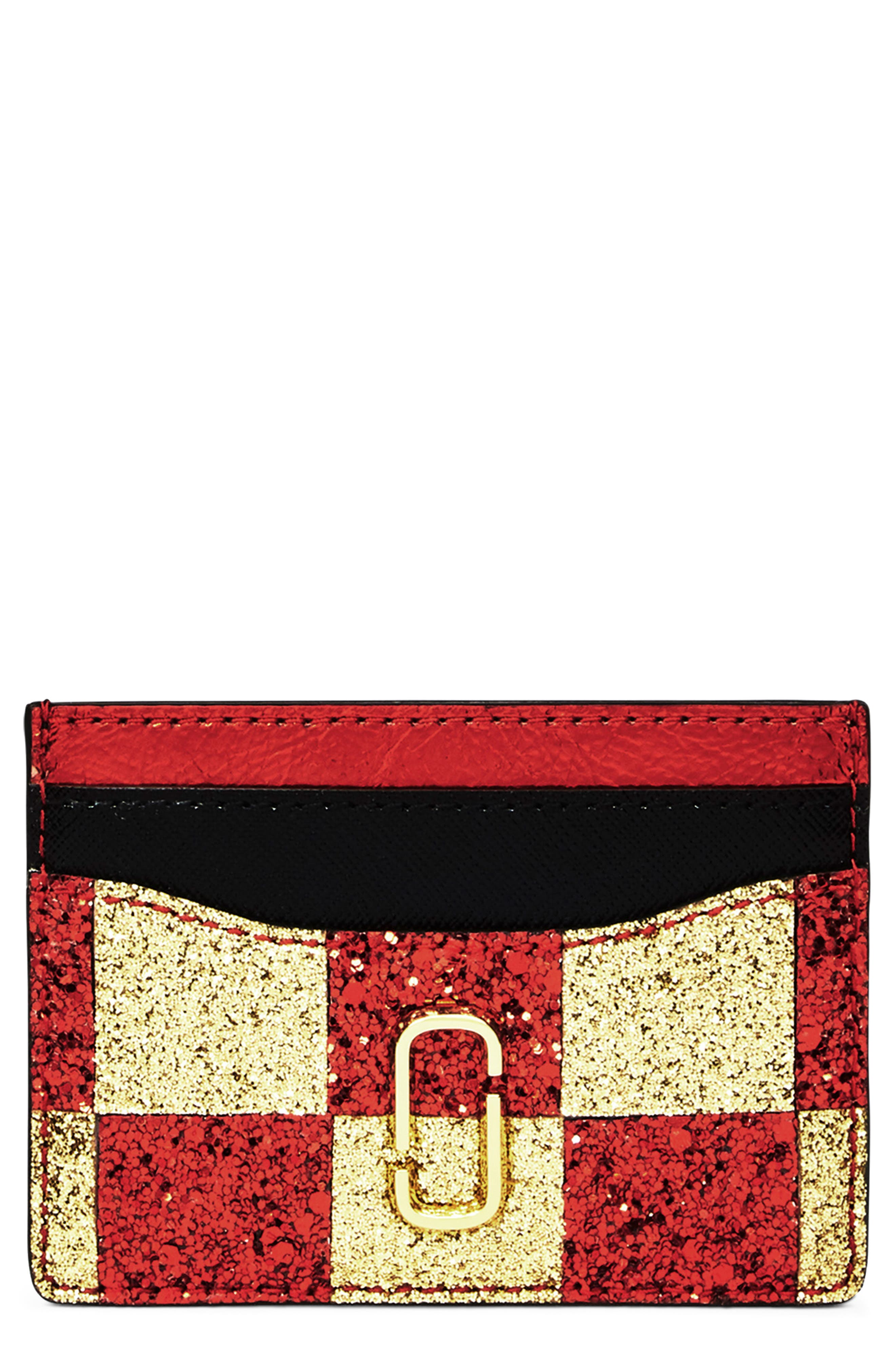MARC JACOBS, Snapshot Glitter Checkerboard Card Case, Main thumbnail 1, color, GOLD MULTI