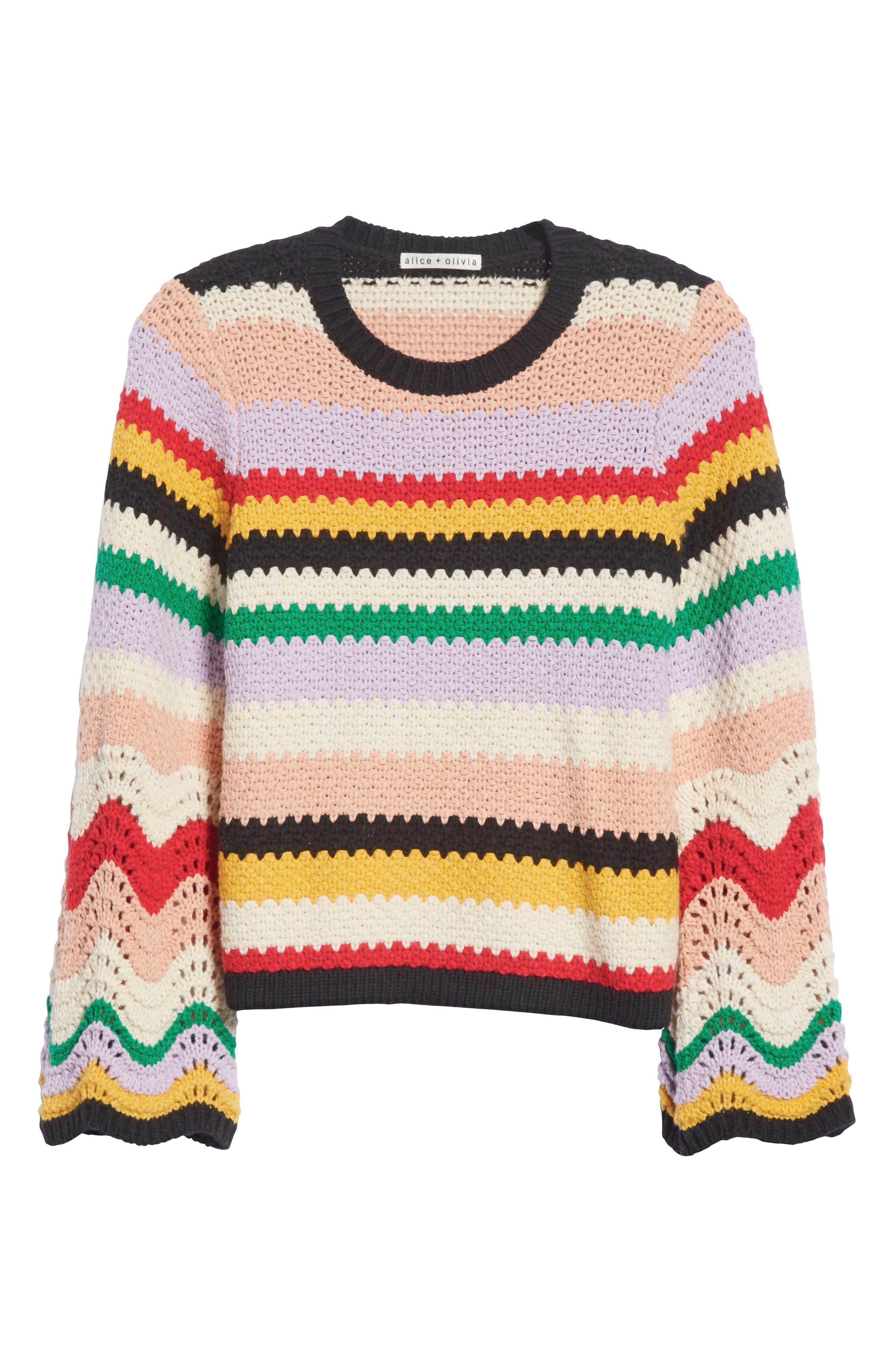 ALICE + OLIVIA, Alivia Stripe Bell Sleeve Cotton Blend Sweater, Alternate thumbnail 7, color, MULTI