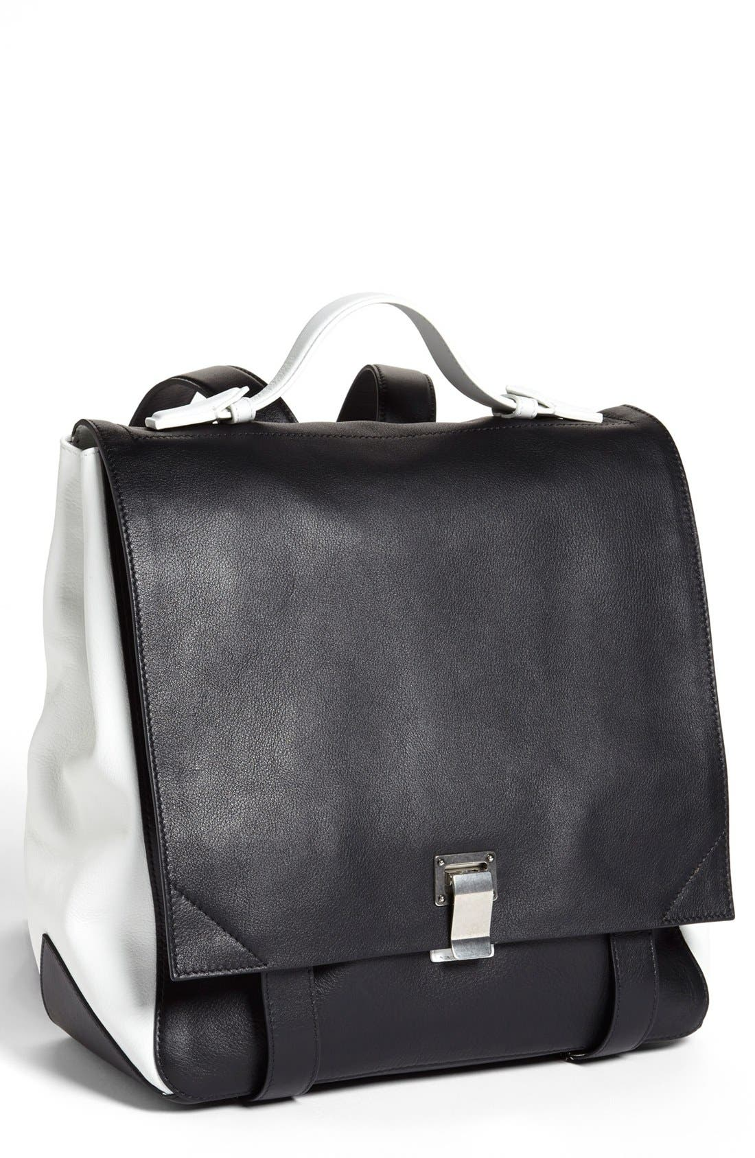 PROENZA SCHOULER, Calfskin Leather Backpack, Alternate thumbnail 3, color, 010