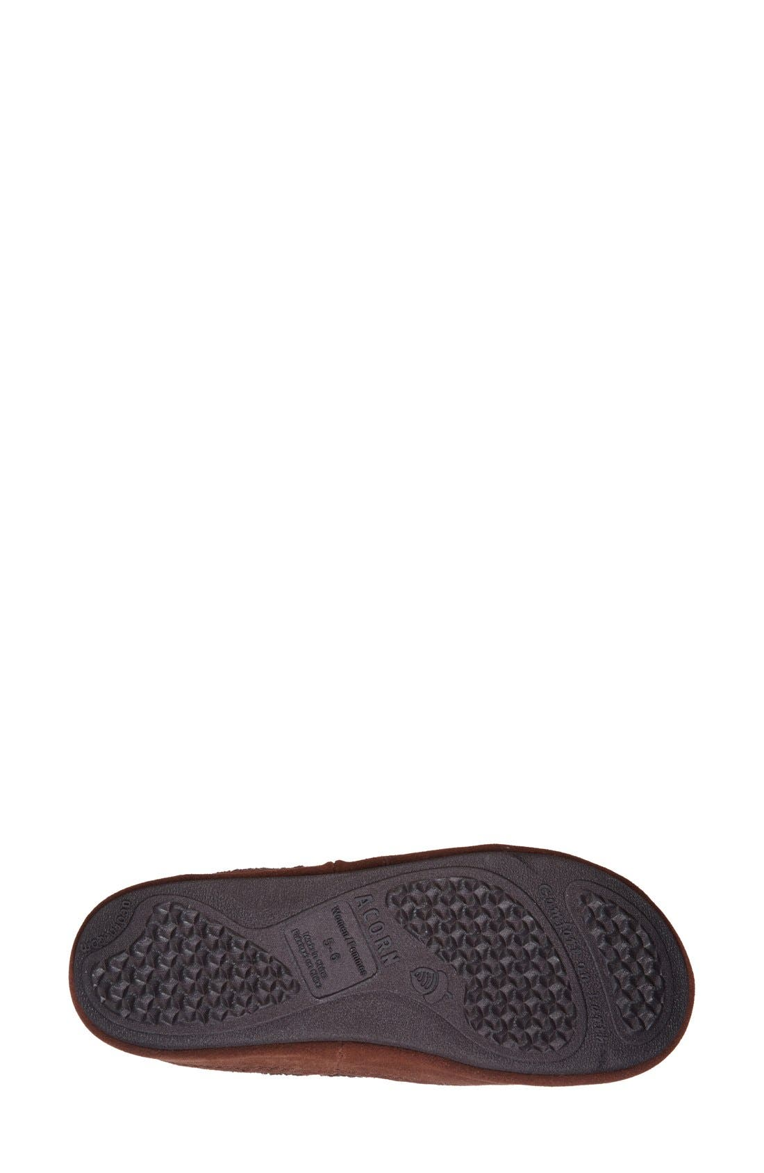ACORN, 'Forest' Wool Mule Slipper, Alternate thumbnail 4, color, CHOCOLATE