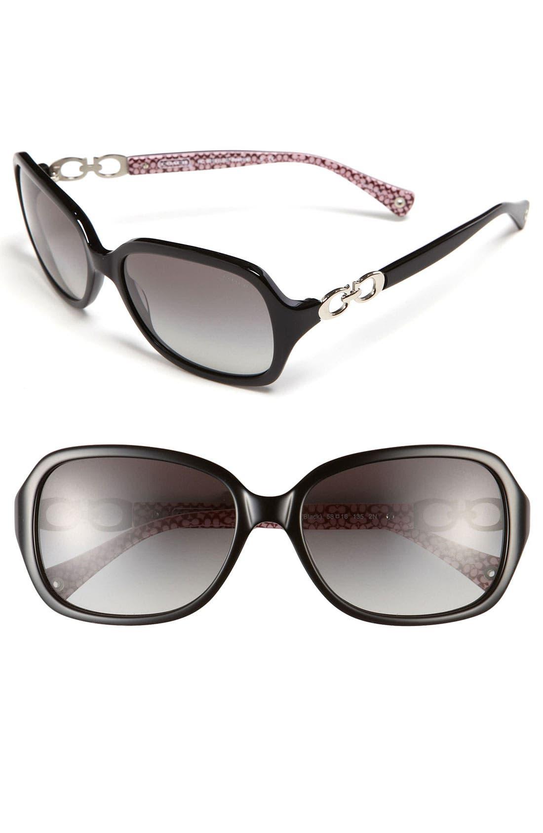 COACH Gradient Lens Sunglasses, Main, color, 001