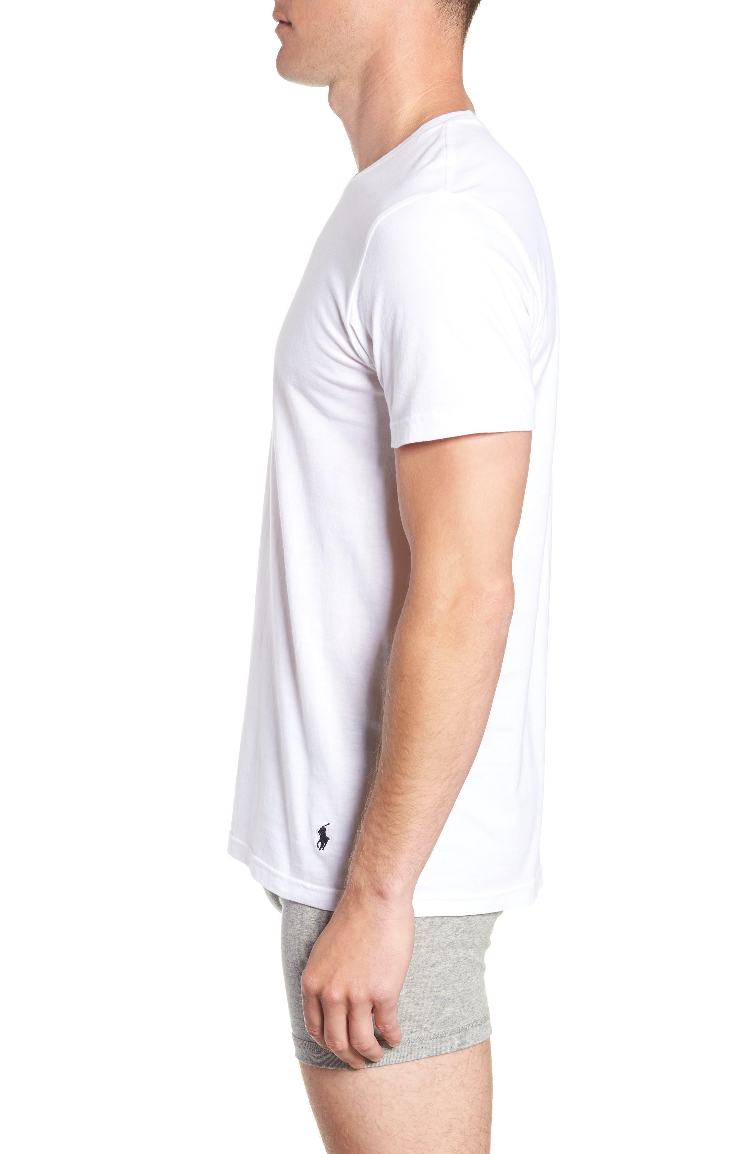 POLO RALPH LAUREN, 2-Pack Crewneck T-Shirts, Alternate thumbnail 4, color, WHITE