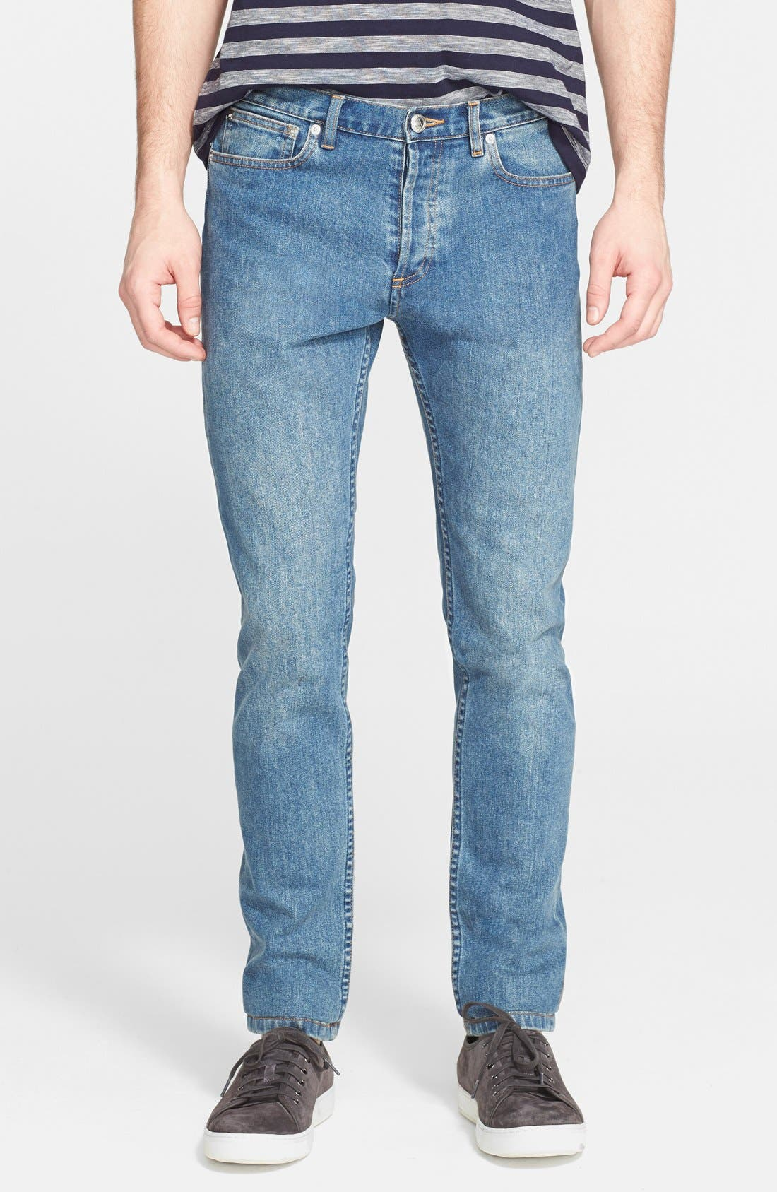 A.P.C., Petit New Standard Skinny Fit Jeans, Main thumbnail 1, color, INDIGO