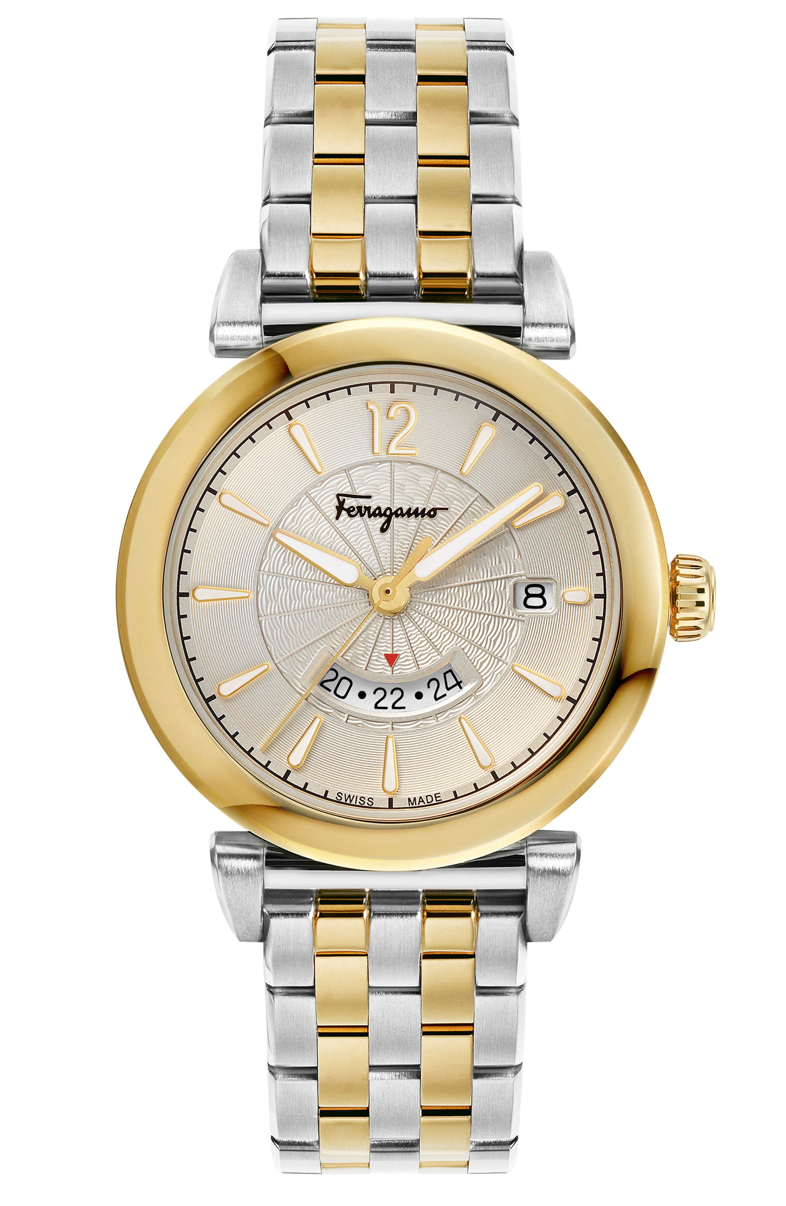 SALVATORE FERRAGAMO, Feroni Bracelet Watch, 40mm, Main thumbnail 1, color, SILVER/ GOLD