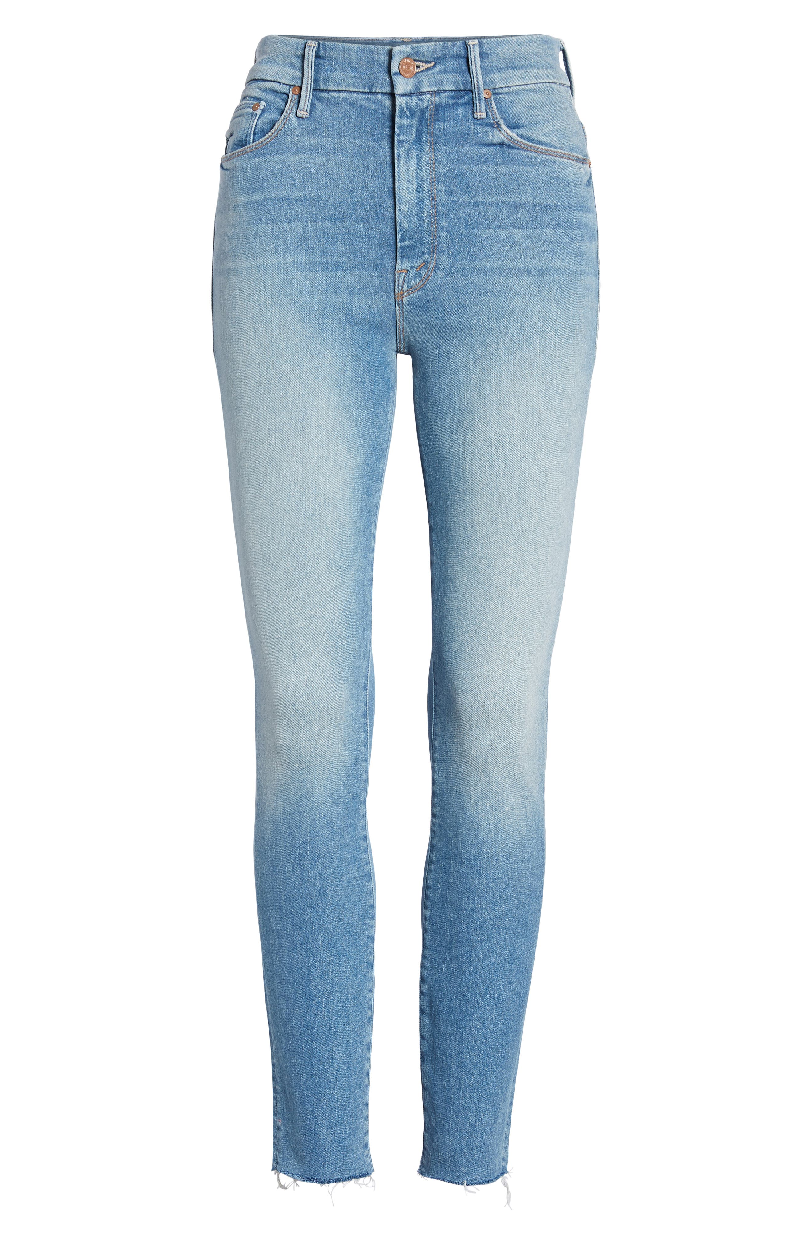 MOTHER, The Looker High Waist Fray Ankle Skinny Jeans, Alternate thumbnail 7, color, LEOPARD