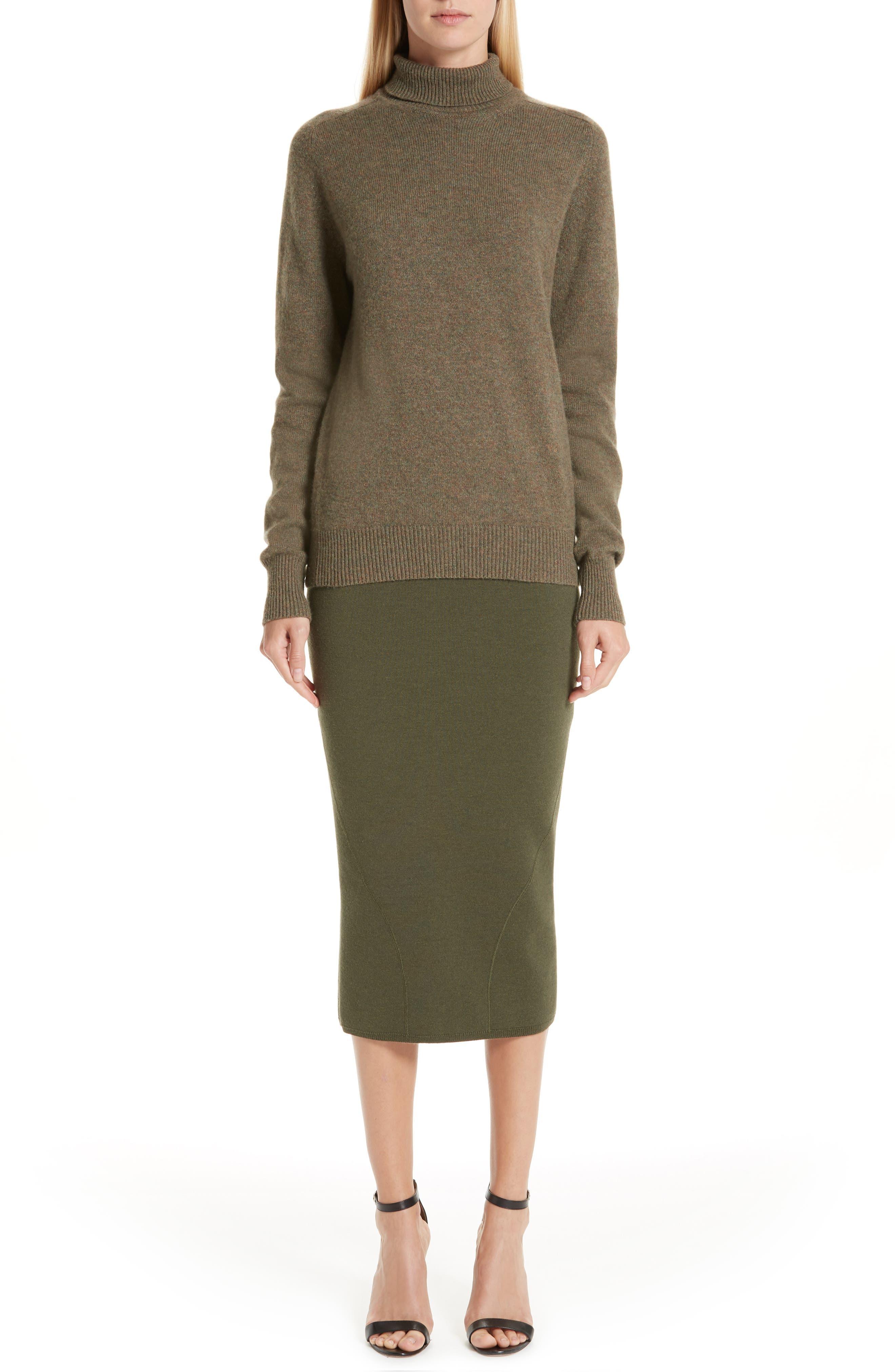 VICTORIA BECKHAM, Stretch Cashmere Turtleneck Sweater, Alternate thumbnail 8, color, OLIVE