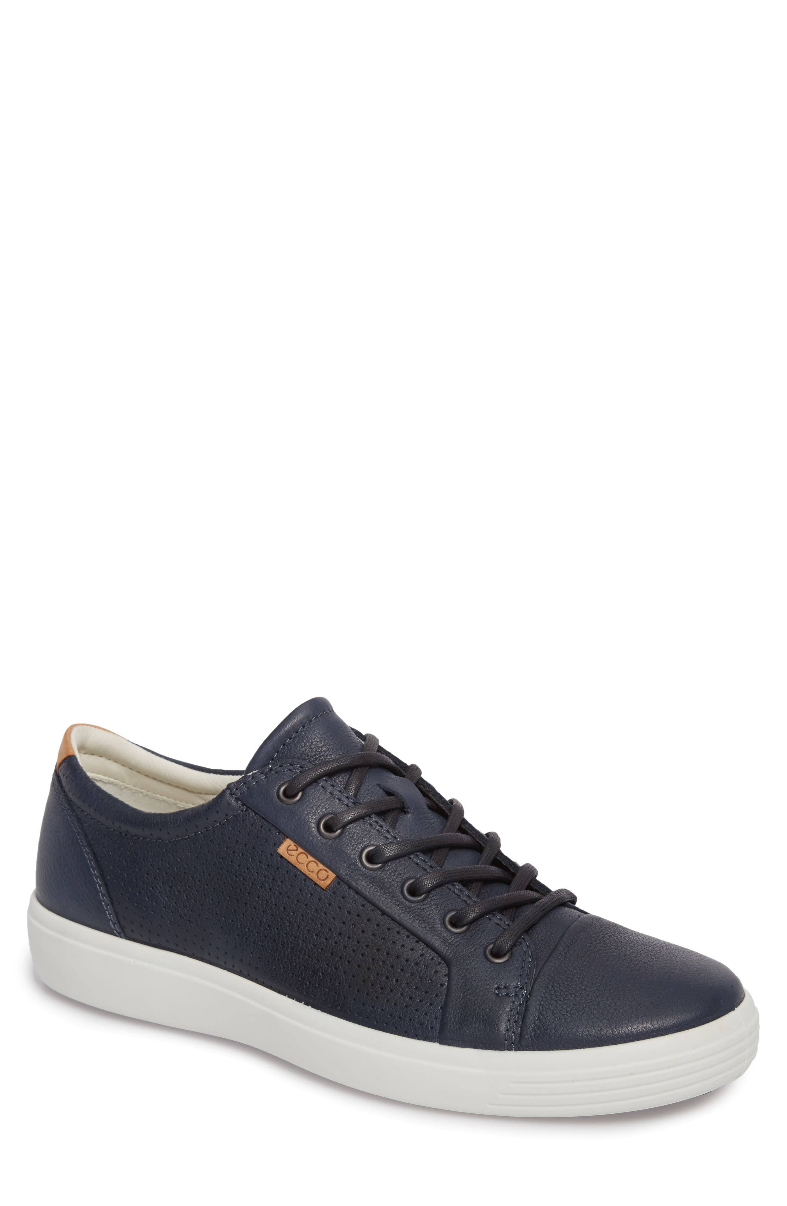ECCO Soft 7 Perf Sneaker, Main, color, NAVY LEATHER