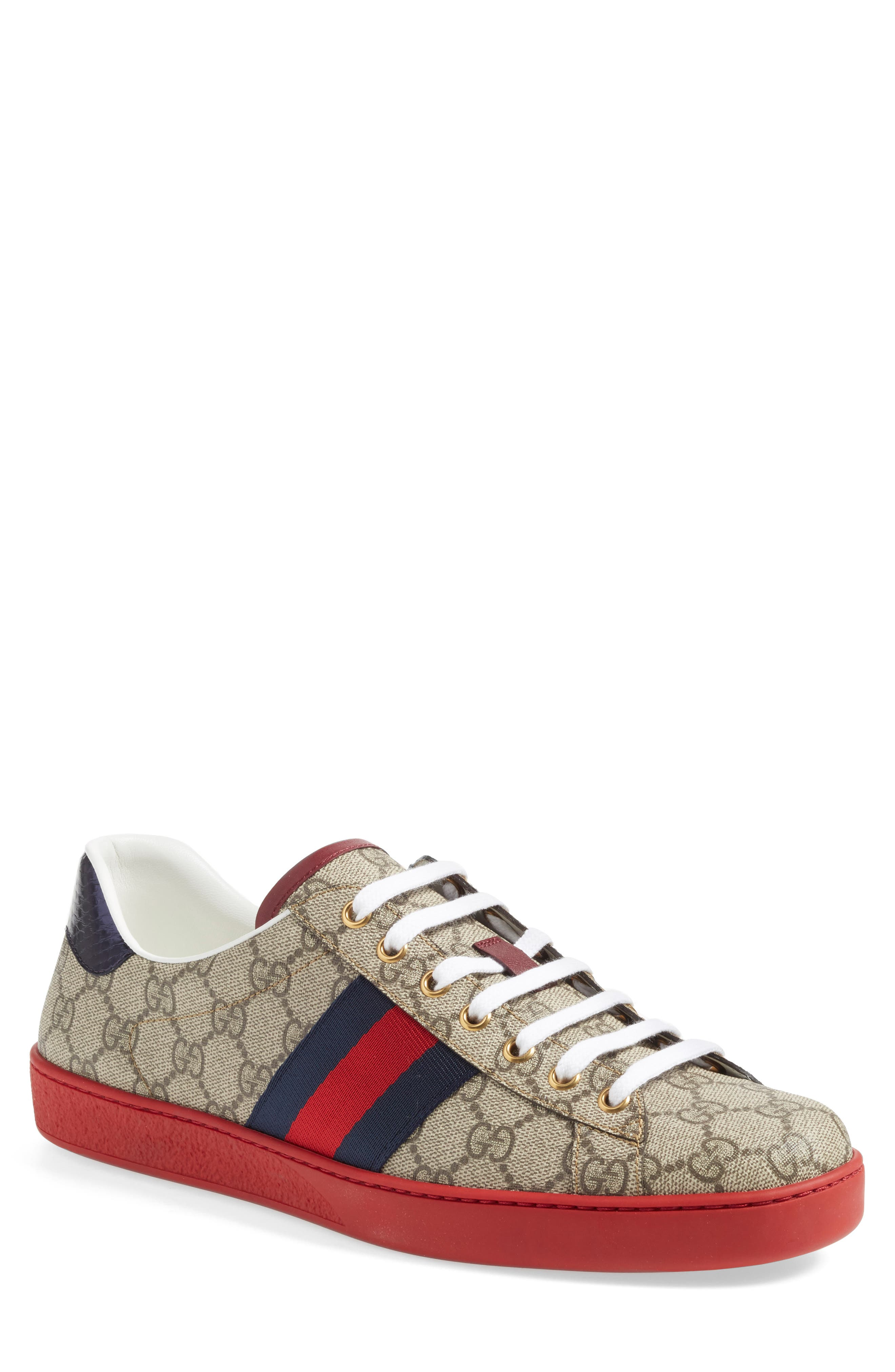 GUCCI, New Ace Webbed Low Top Sneaker, Main thumbnail 1, color, BEIGE