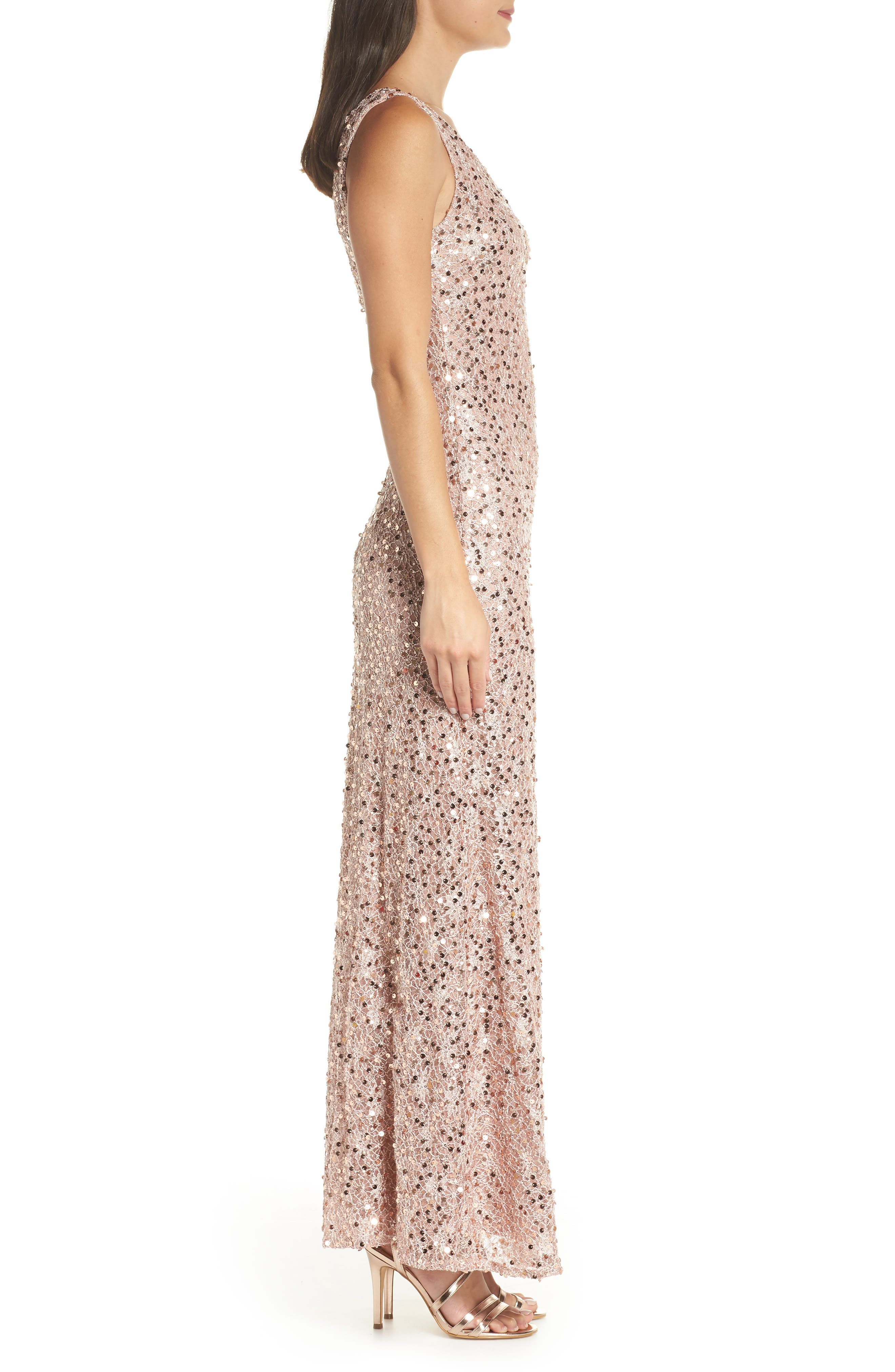 MORGAN & CO., Sequin & Lace Gown, Alternate thumbnail 4, color, ROSE GOLD
