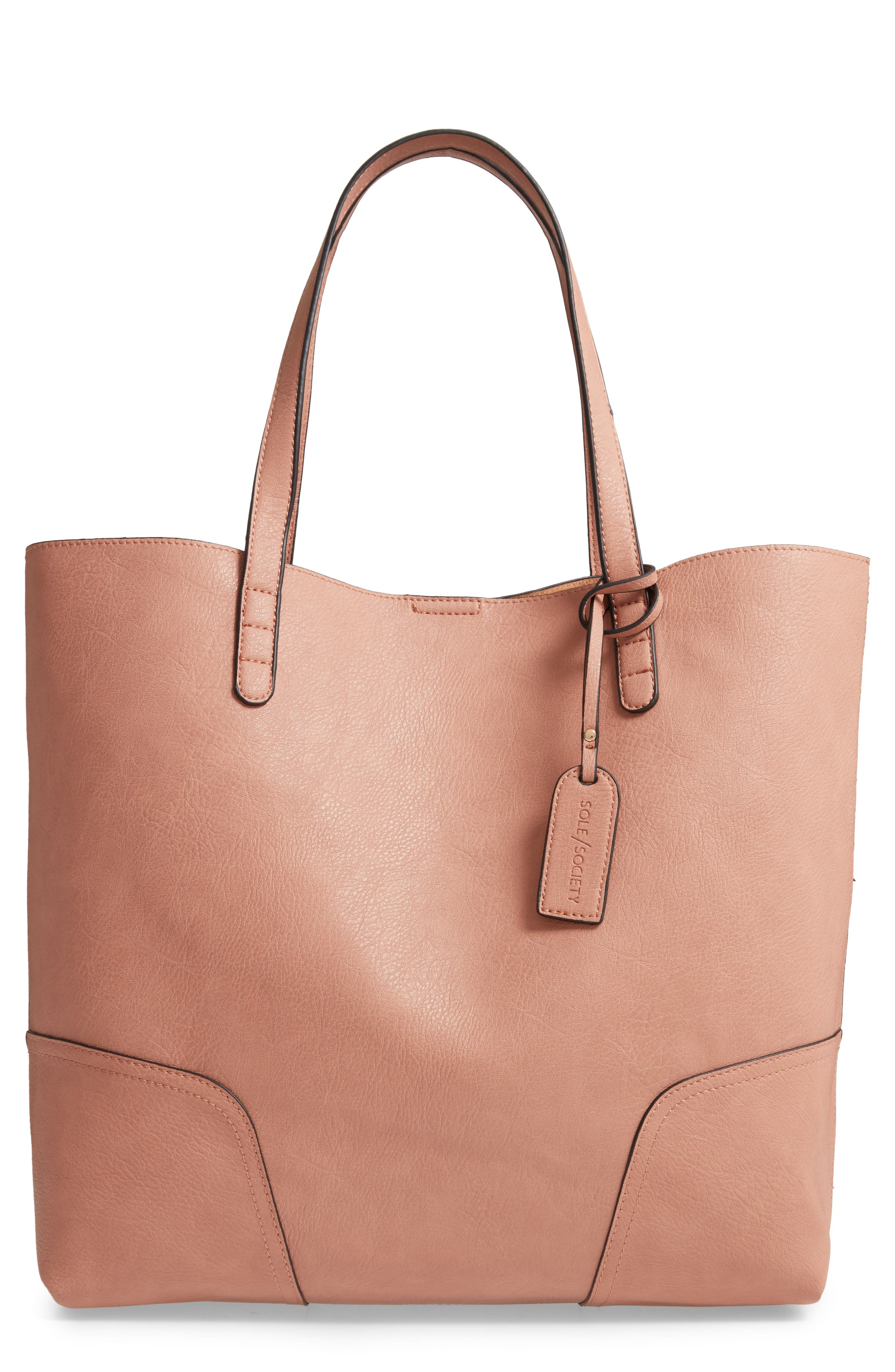 SOLE SOCIETY, Lilyn Faux Leather Tote, Main thumbnail 1, color, CANYON
