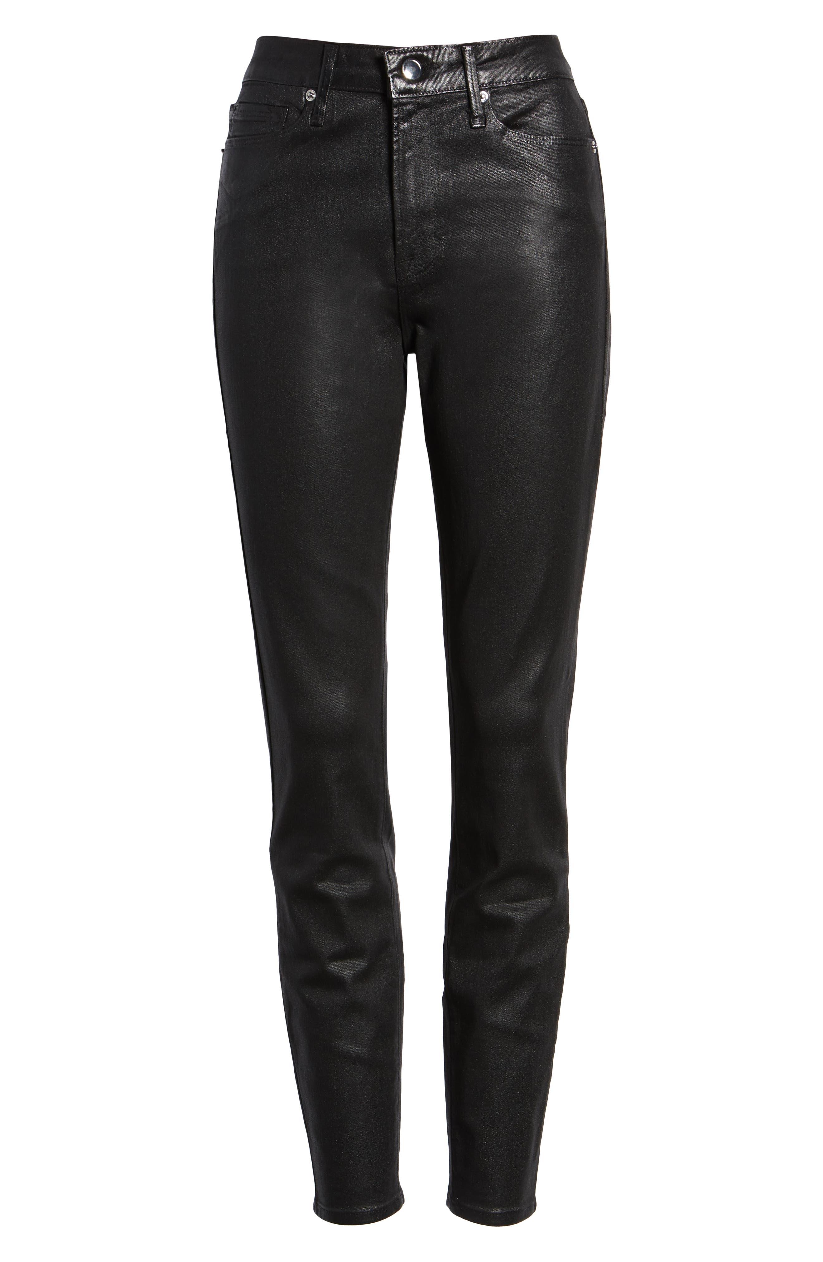 GOOD AMERICAN, Good Legs High Waist Skinny Jeans, Alternate thumbnail 6, color, BLACK
