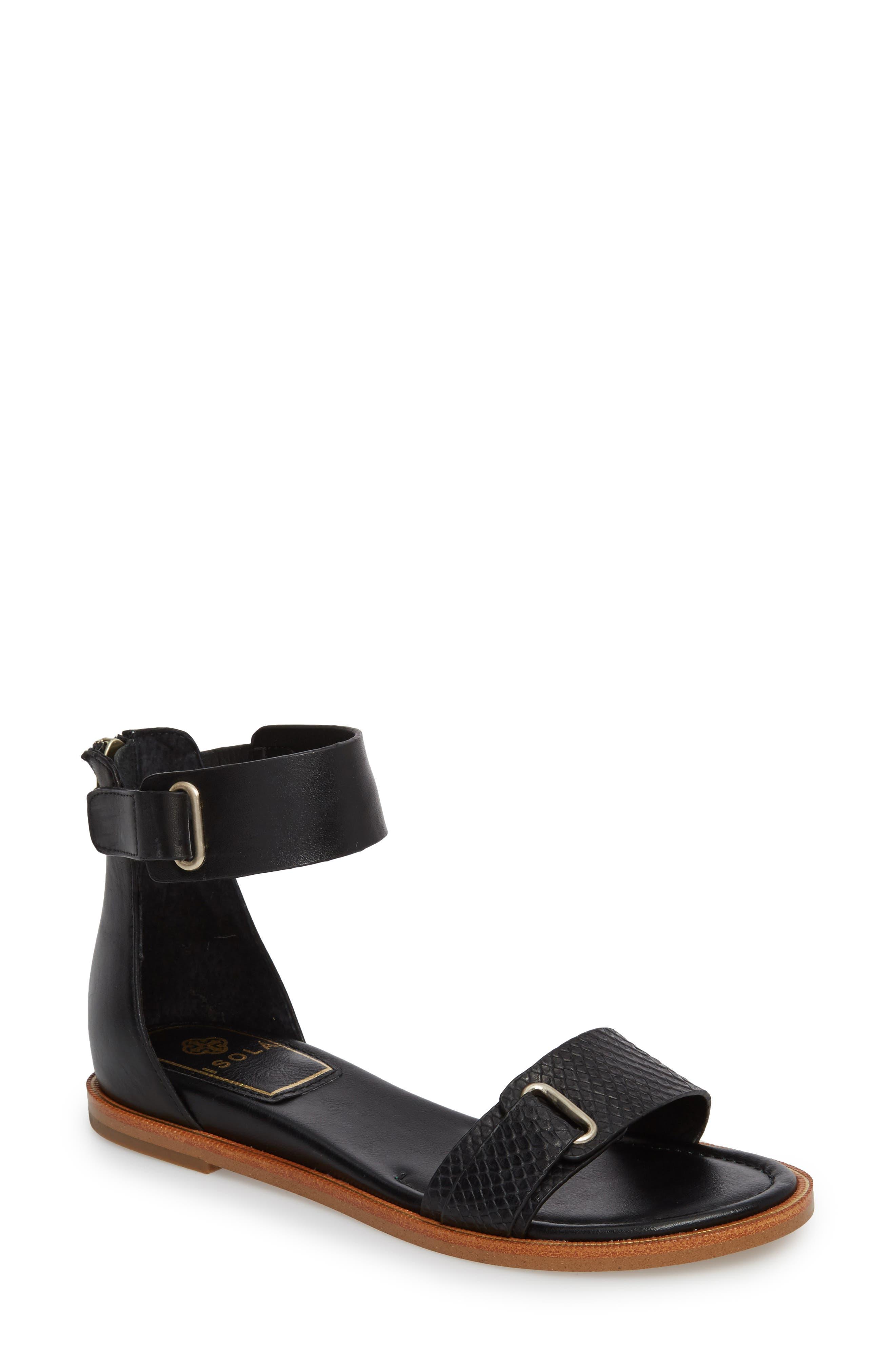 ISOLÁ Savina Ankle Strap Sandal, Main, color, BLACK LEATHER