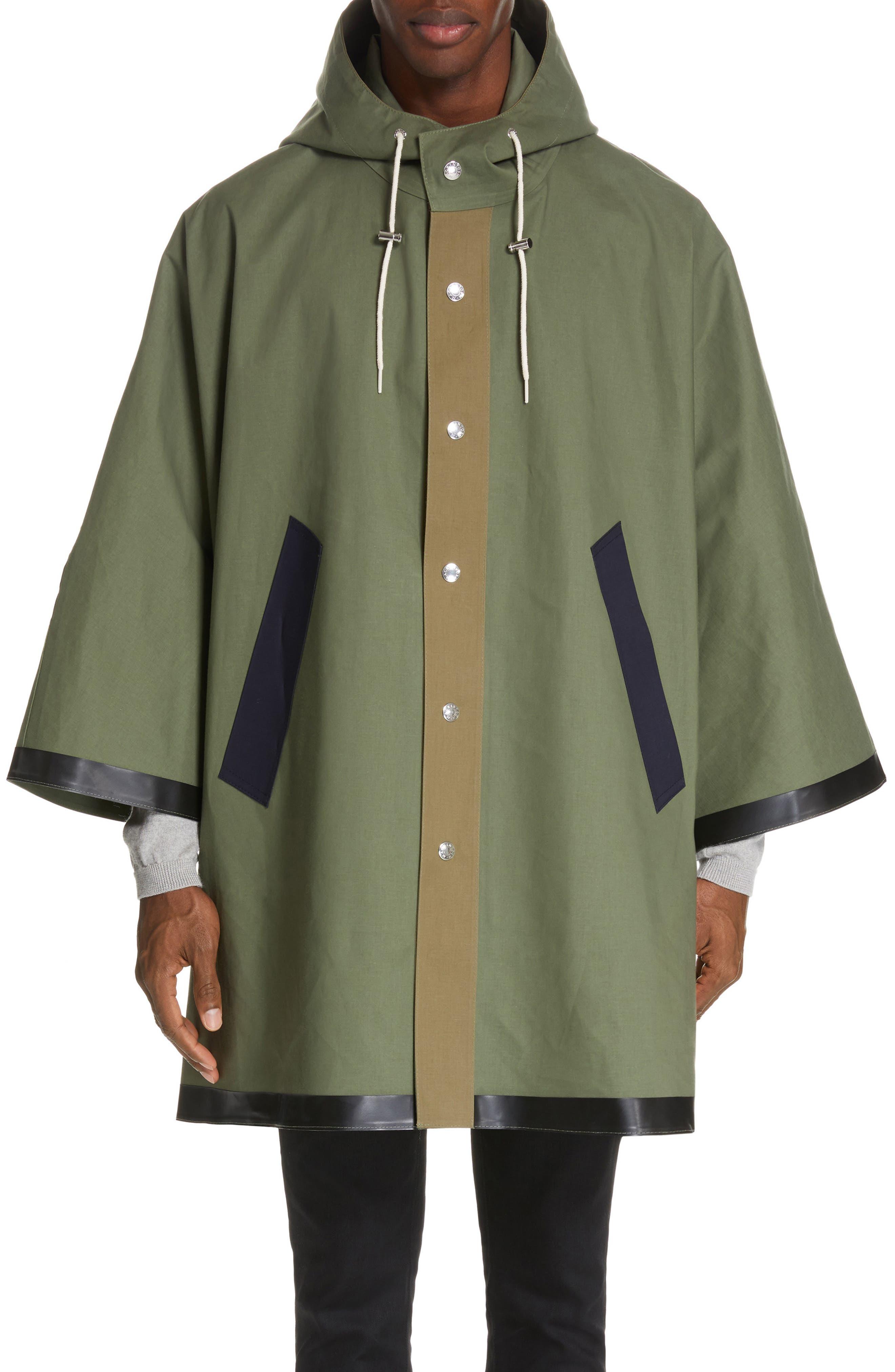 MACKINTOSH, Gents Bonded Cotton Hooded Poncho, Alternate thumbnail 2, color, FOUR LEAF CLOVER/ BLUE DEPTH