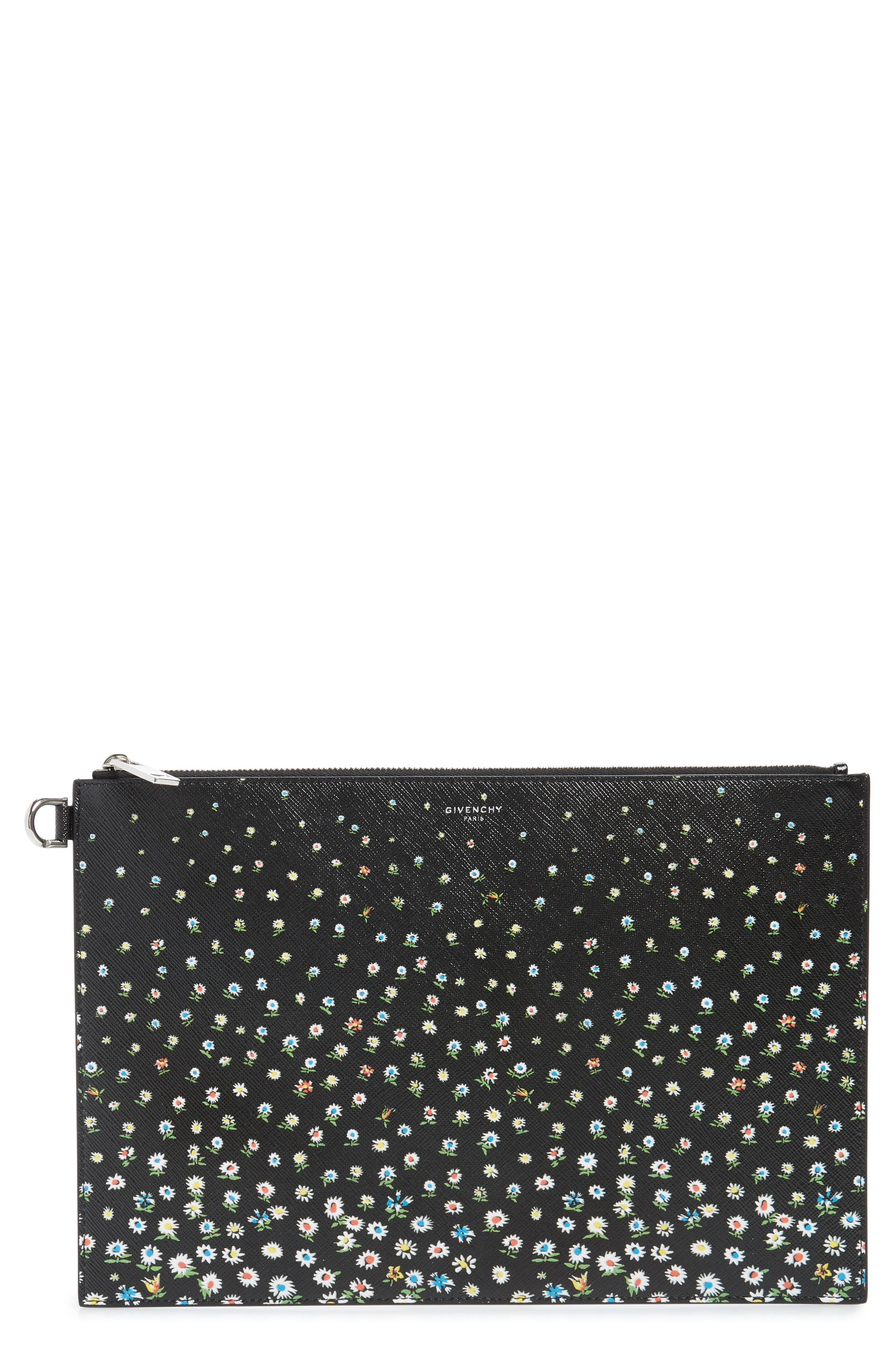 GIVENCHY Medium Iconic Coated Canvas Pouch, Main, color, BLACK