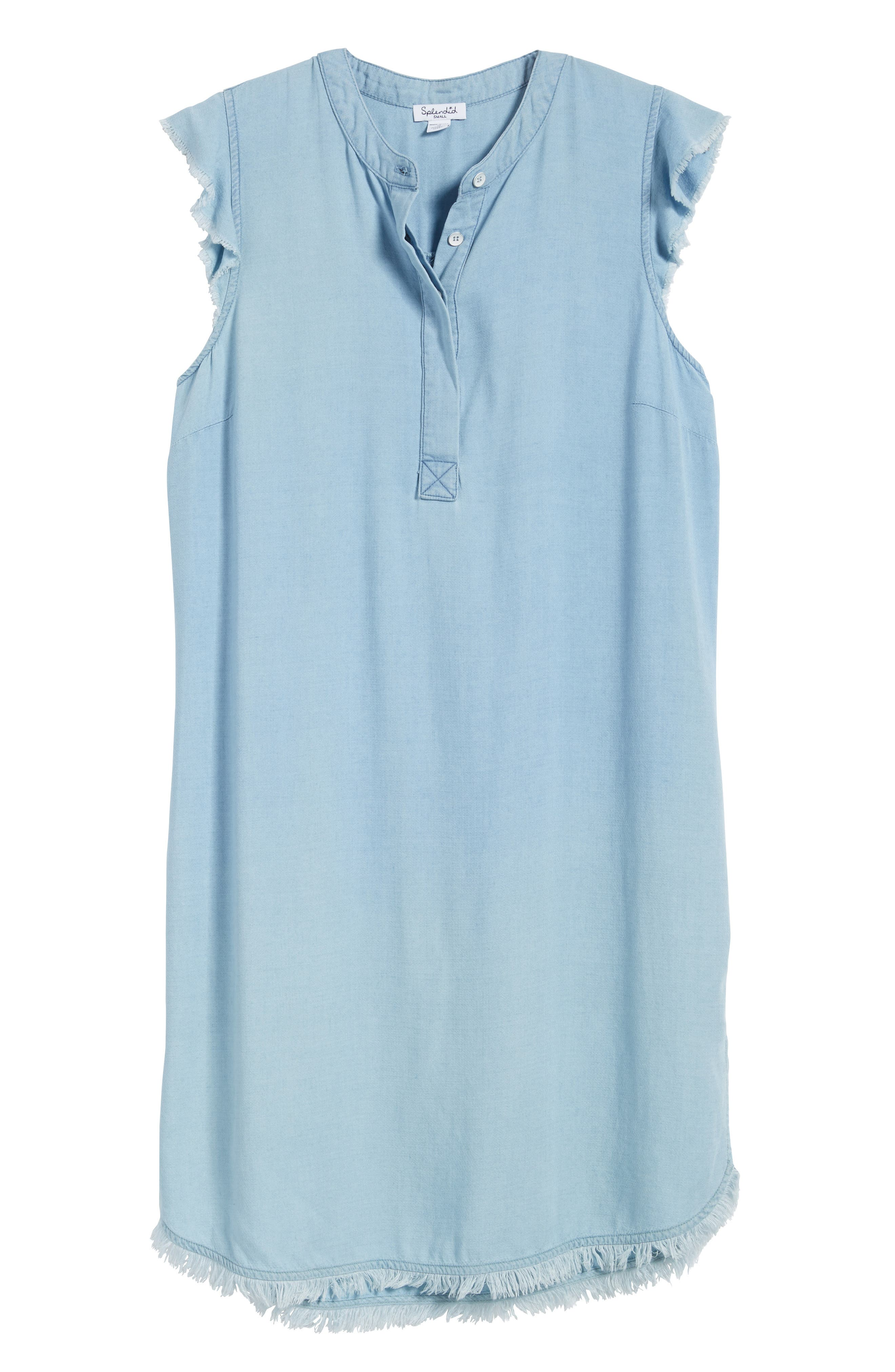 SPLENDID, Chambray Shift Dress, Alternate thumbnail 6, color, 400