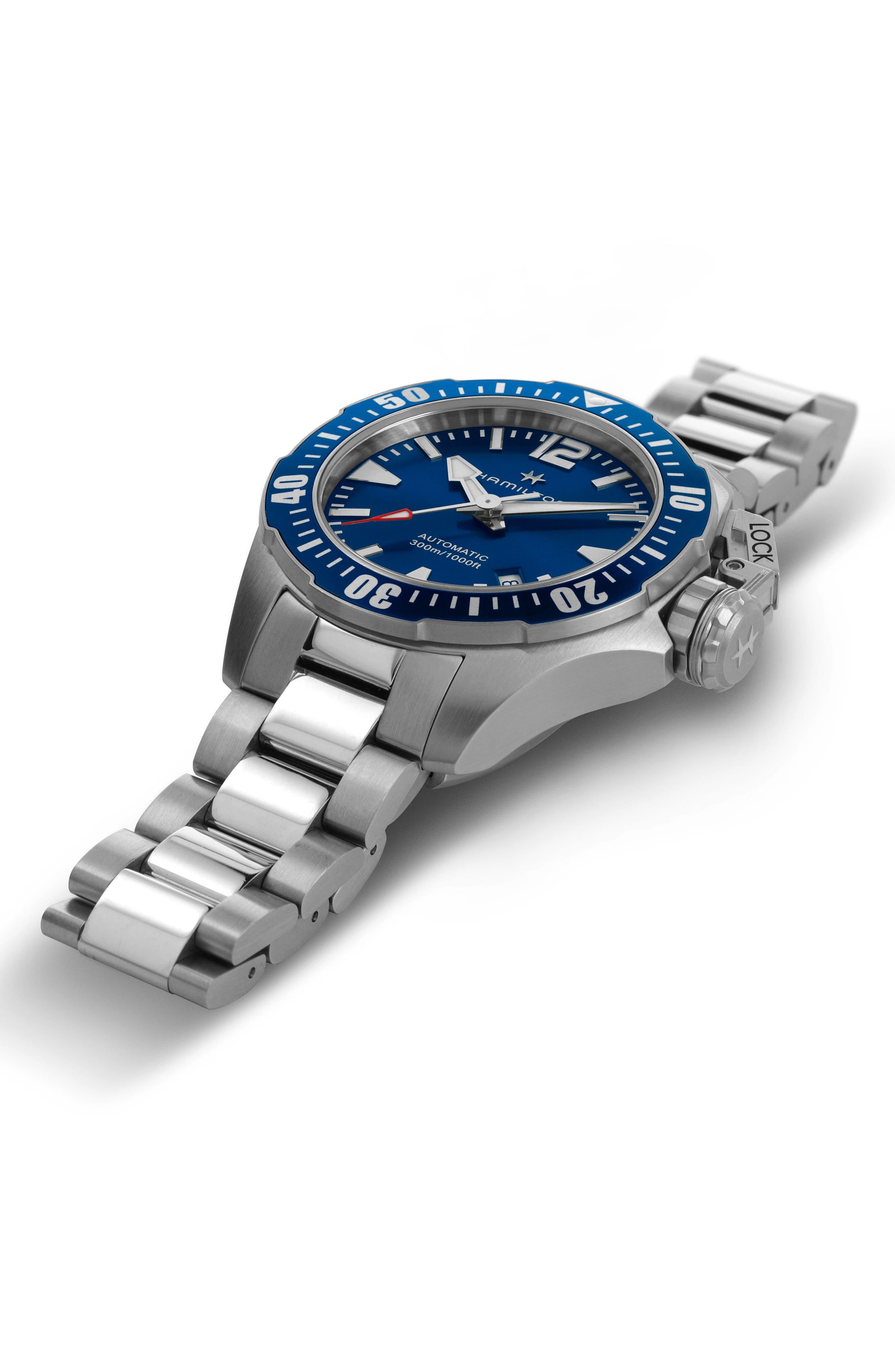 HAMILTON, Khaki Navy Frogman Automatic Bracelet Watch, 42mm, Alternate thumbnail 3, color, SILVER/ BLUE/ SILVER