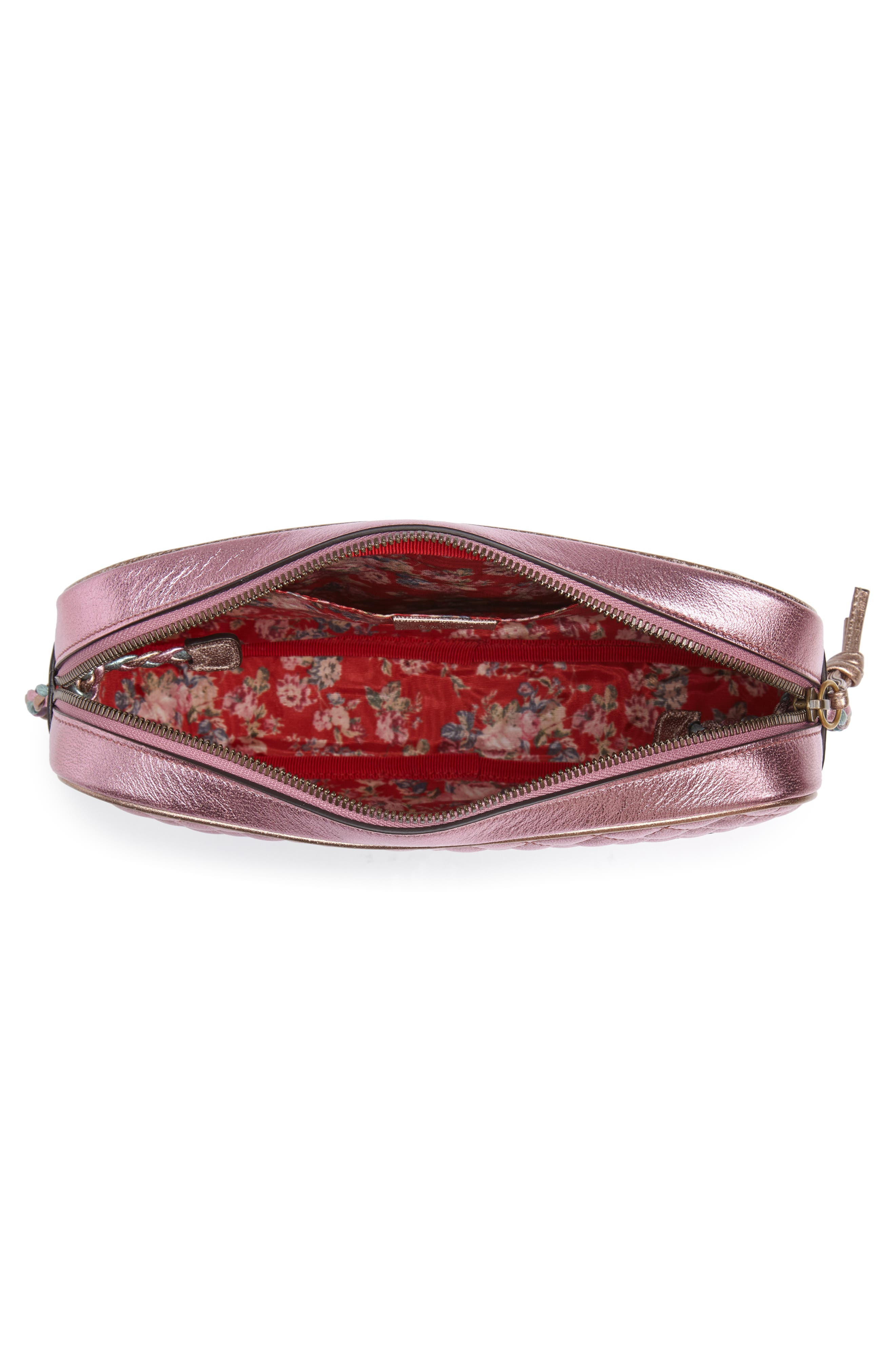 GUCCI, Small Quilted Metallic Leather Shoulder Bag, Alternate thumbnail 4, color, ROSE/ BLUE