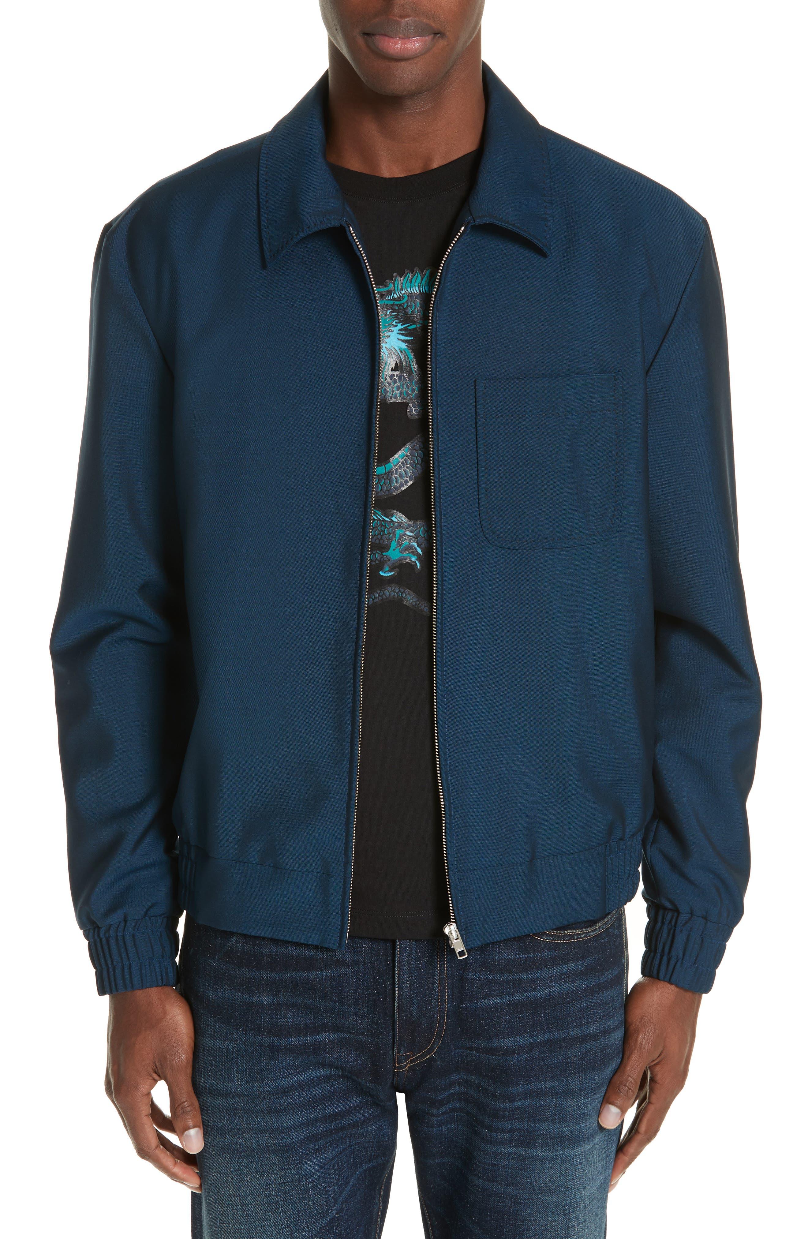 KENZO, Zip Jacket, Main thumbnail 1, color, DUCK BLUE