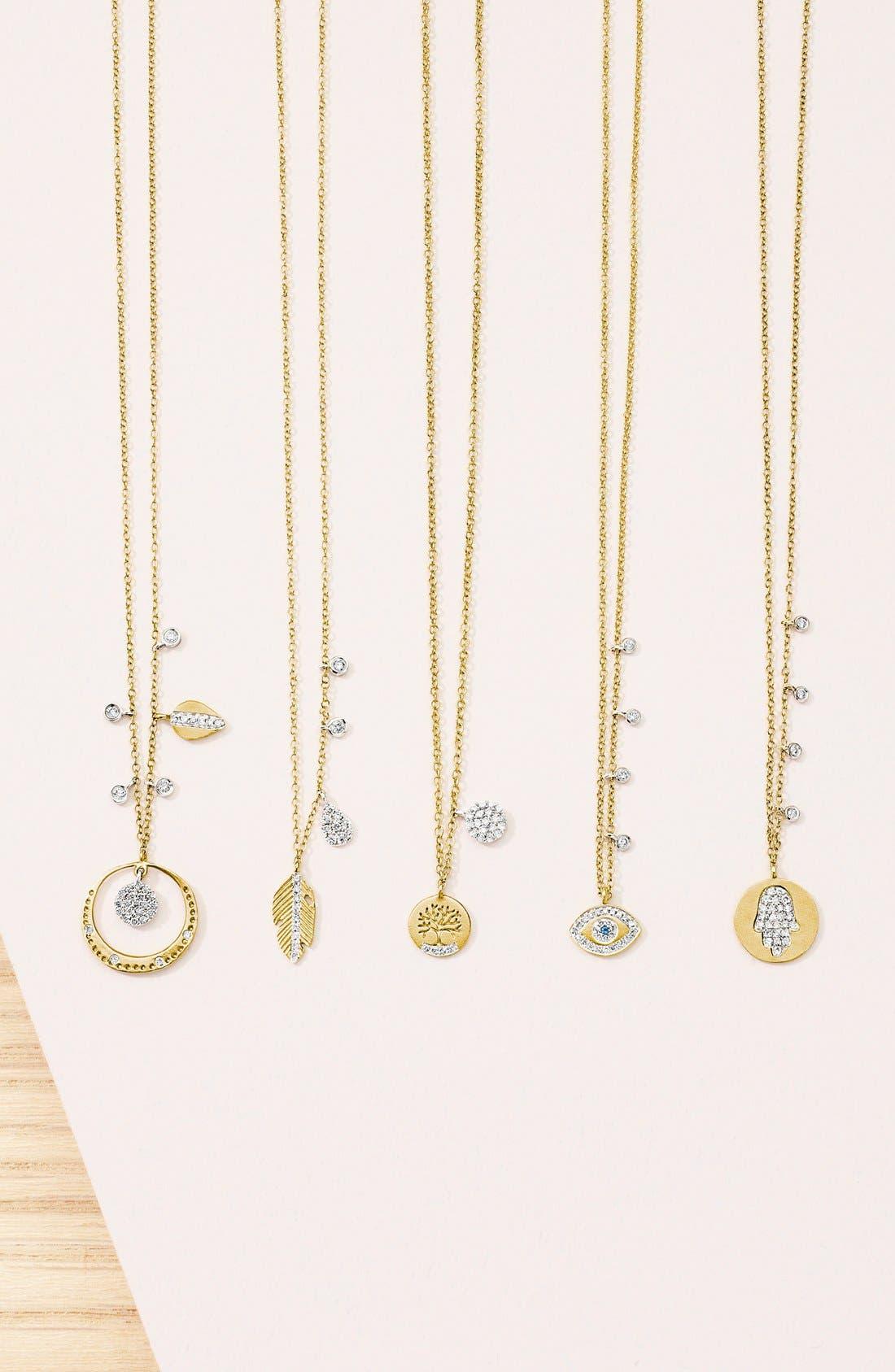MEIRA T, Evil Eye Diamond Pendant Necklace, Alternate thumbnail 3, color, YELLOW GOLD