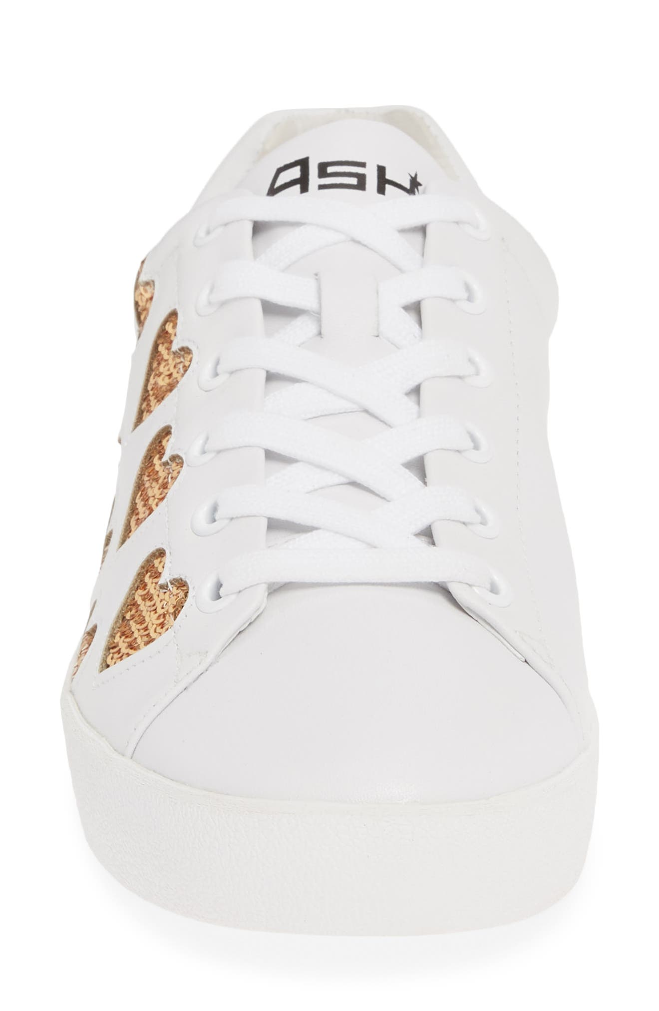 ASH, Nikita Sequin Heart Sneaker, Alternate thumbnail 4, color, WHITE LEATHER/ GOLD