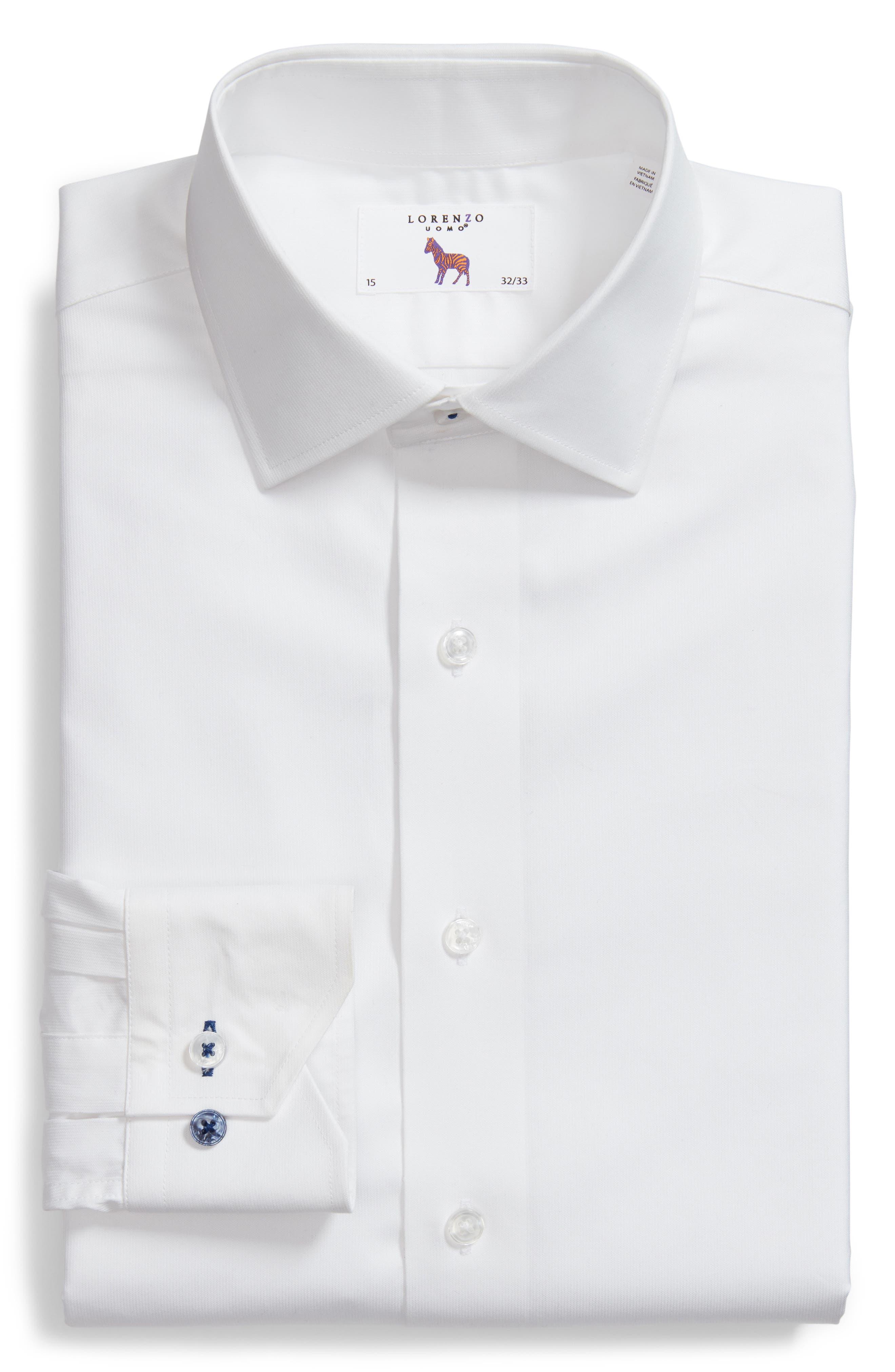 LORENZO UOMO, Trim Fit Solid Dress Shirt, Alternate thumbnail 5, color, WHITE