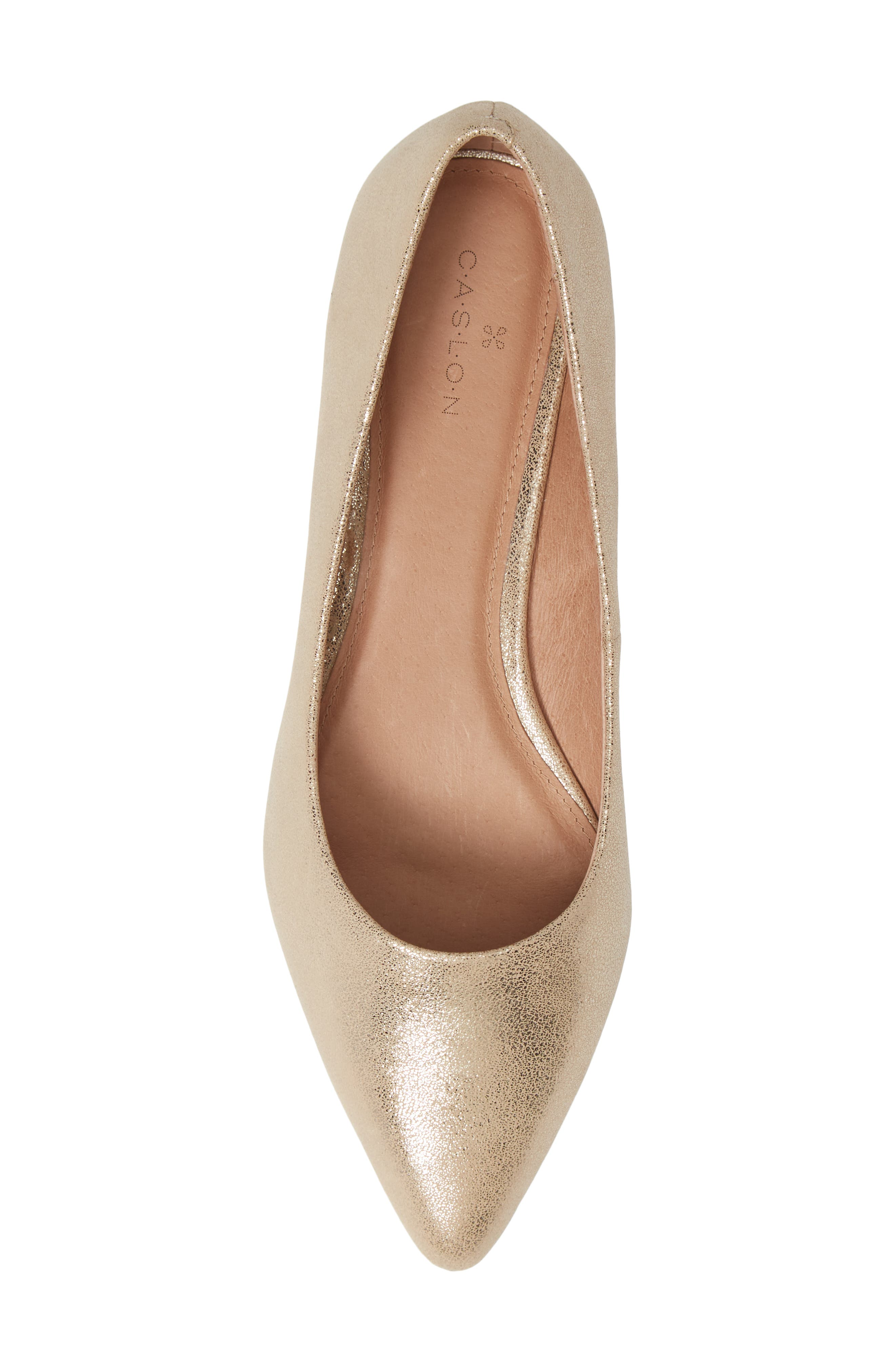 CASLON<SUP>®</SUP>, Luna Pointy Toe Flat, Alternate thumbnail 5, color, LIGHT GOLD LEATHER