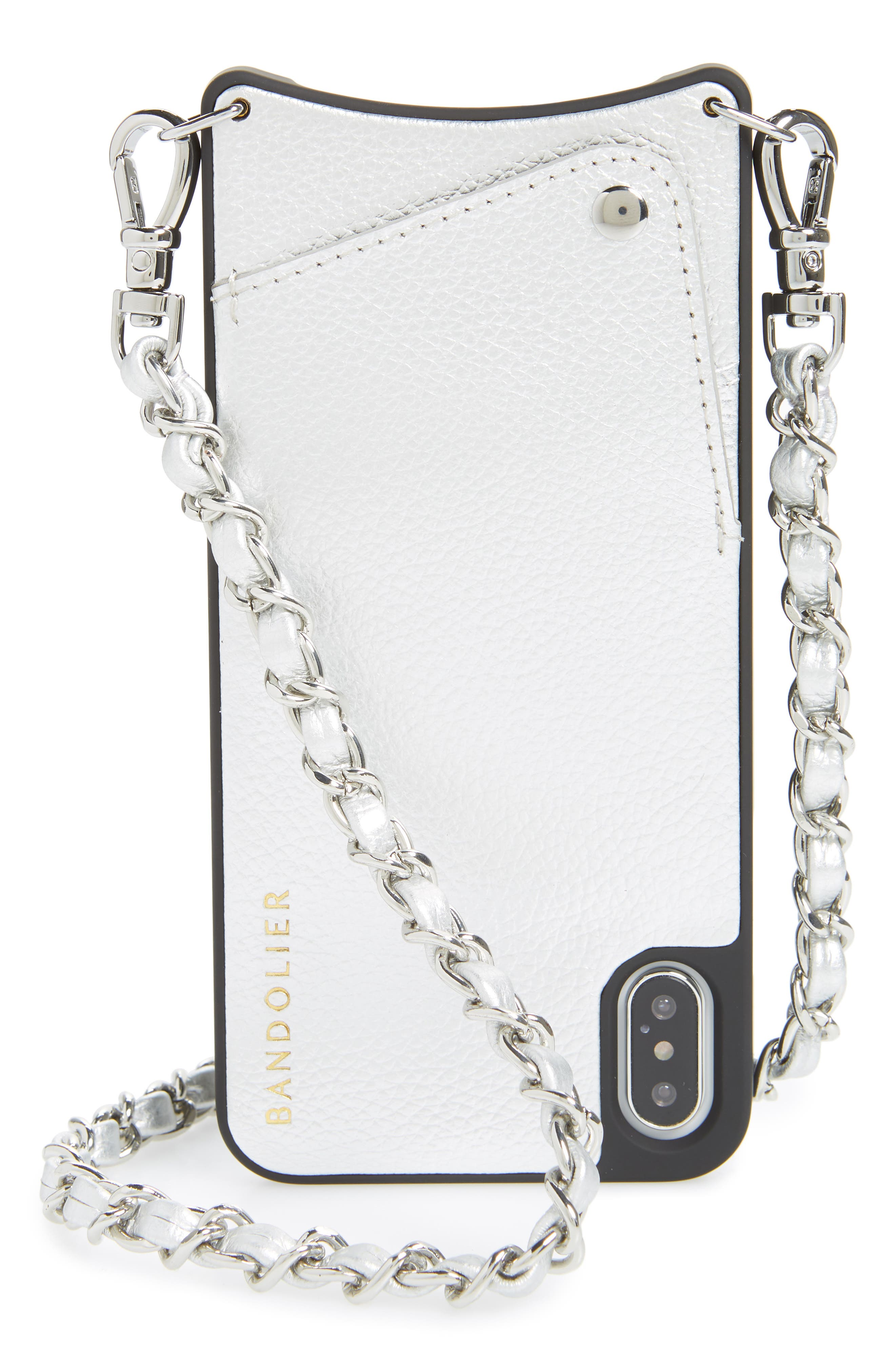 BANDOLIER, Sarah Leather iPhone 8/8 Plus/X/Xs/Xs Max & XR Crossbody Case, Main thumbnail 1, color, SILVER/ SILVER