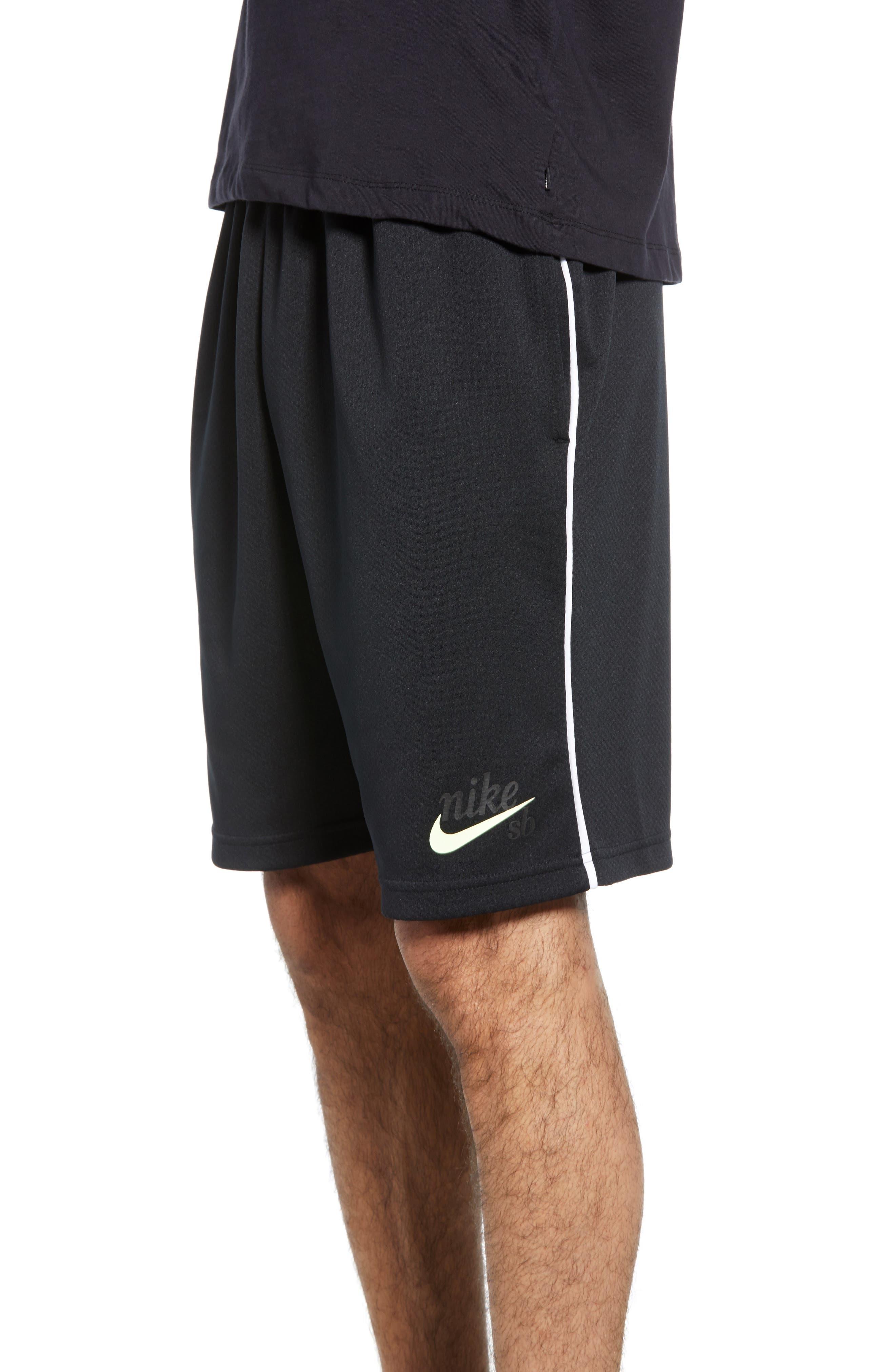 NIKE SB, Dry Sunday Morning Shorts, Alternate thumbnail 4, color, BLACK/ WHITE/ BARELY VOLT