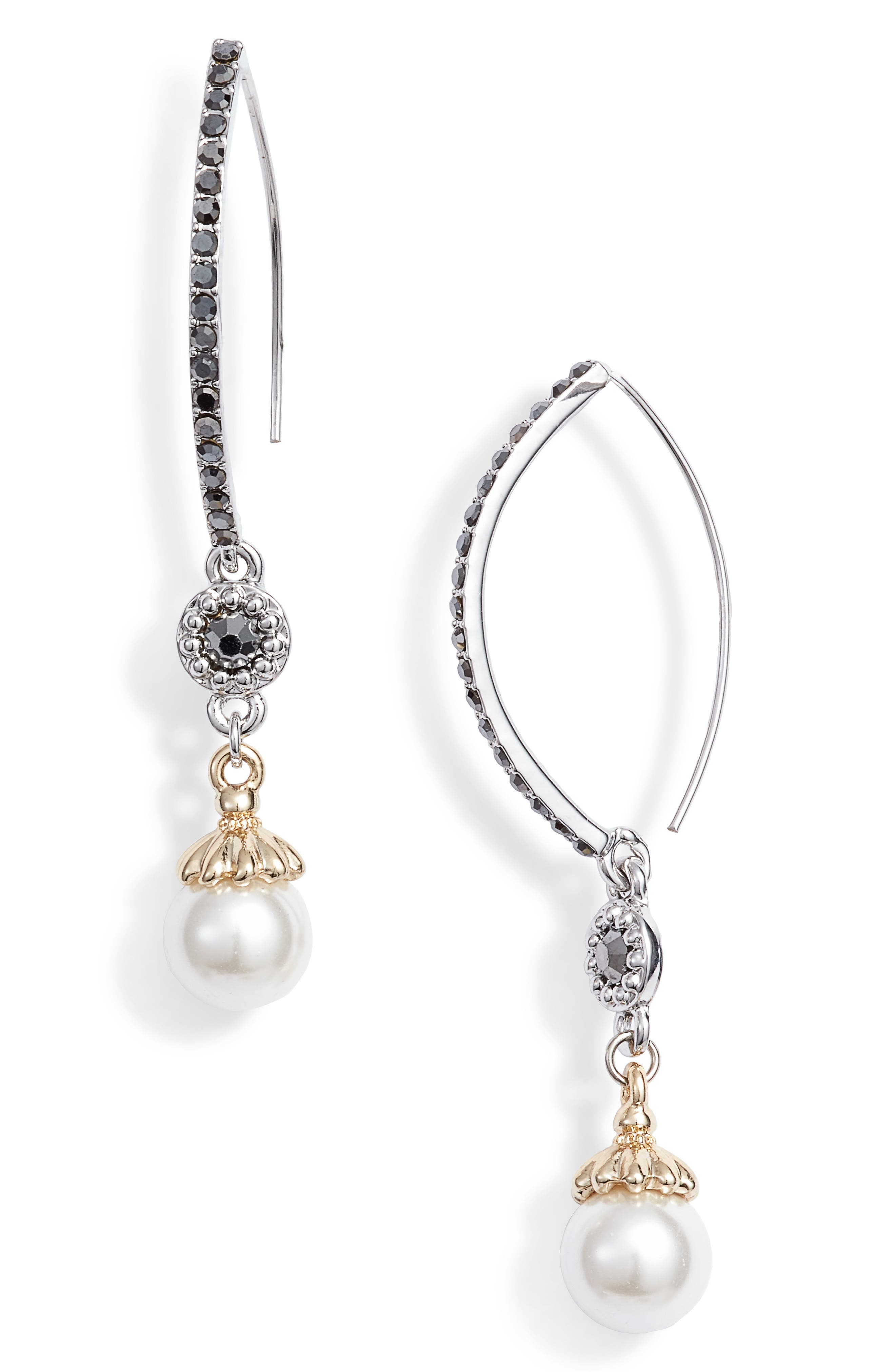 JENNY PACKHAM, Imitation Pearl Threader Earrings, Main thumbnail 1, color, PEARL/ SILVER