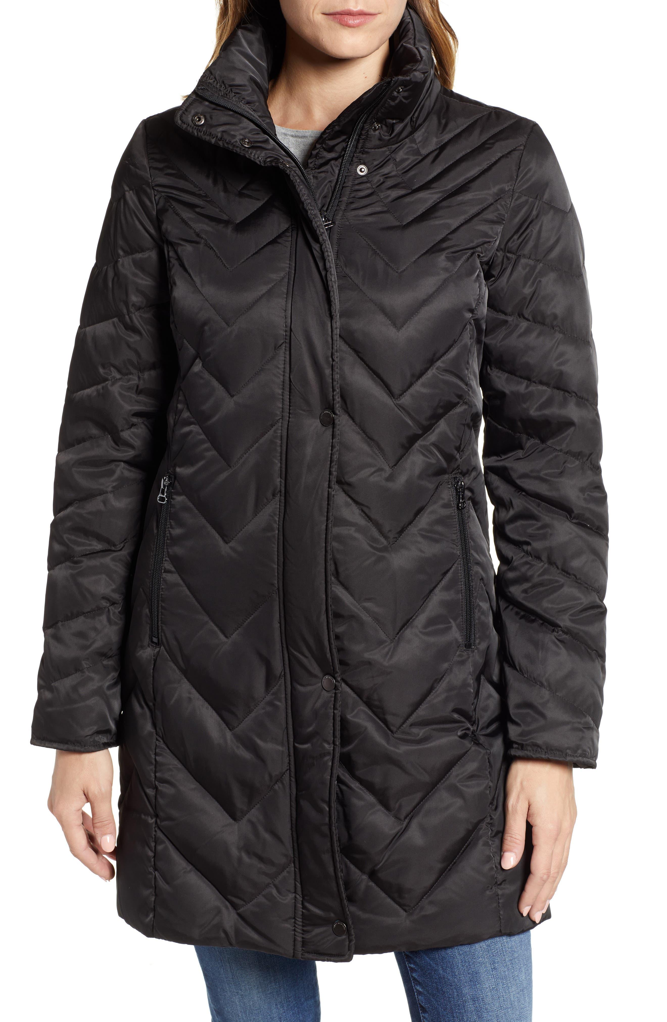 MARC NEW YORK, Matte Satin Chevron Faux Fur Trim Coat, Alternate thumbnail 5, color, BLACK