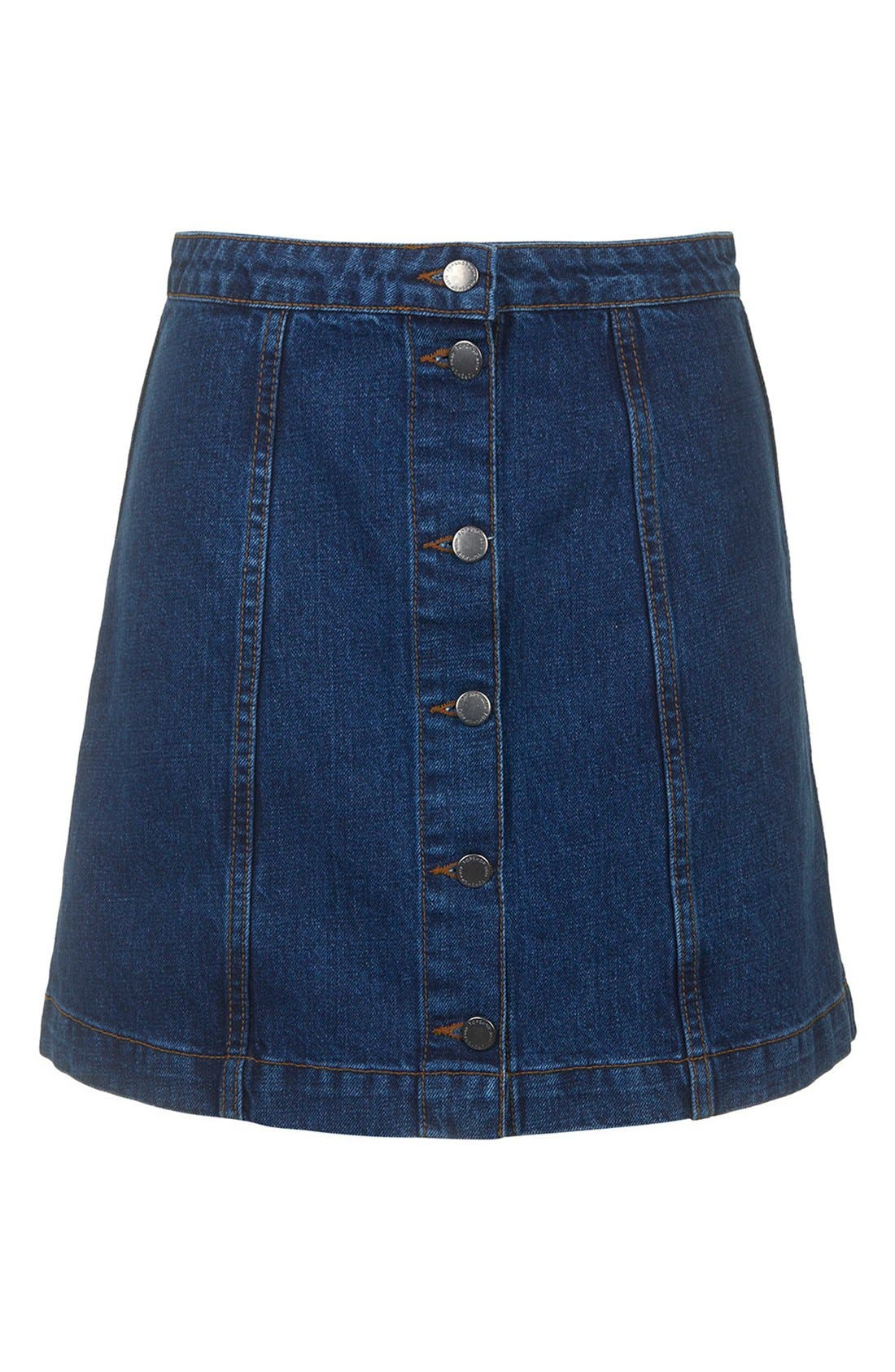 TOPSHOP, Moto Button Front Denim Miniskirt, Alternate thumbnail 4, color, 400
