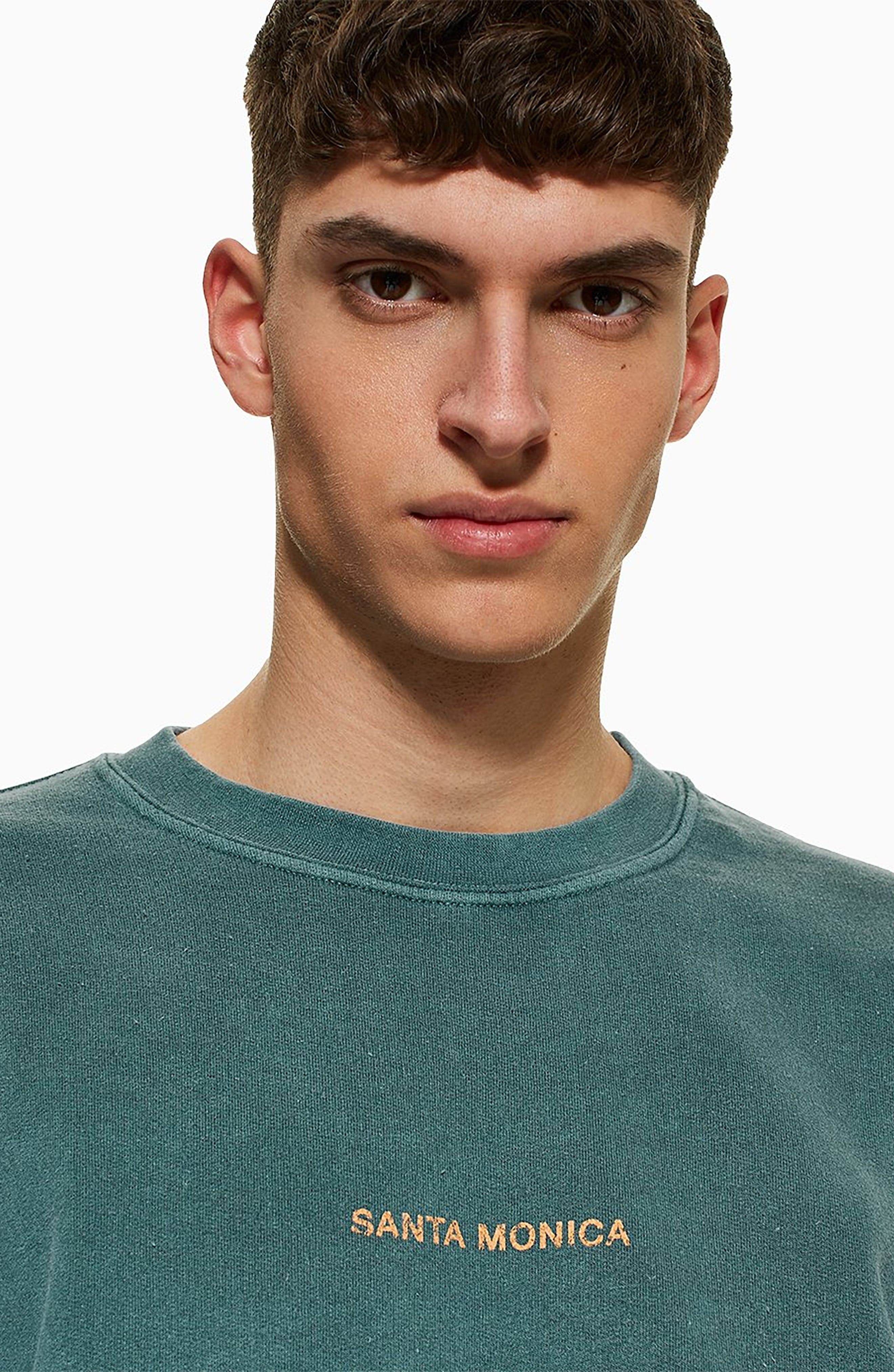 TOPMAN, Santa Monica Oversize Sweatshirt, Alternate thumbnail 4, color, GREEN