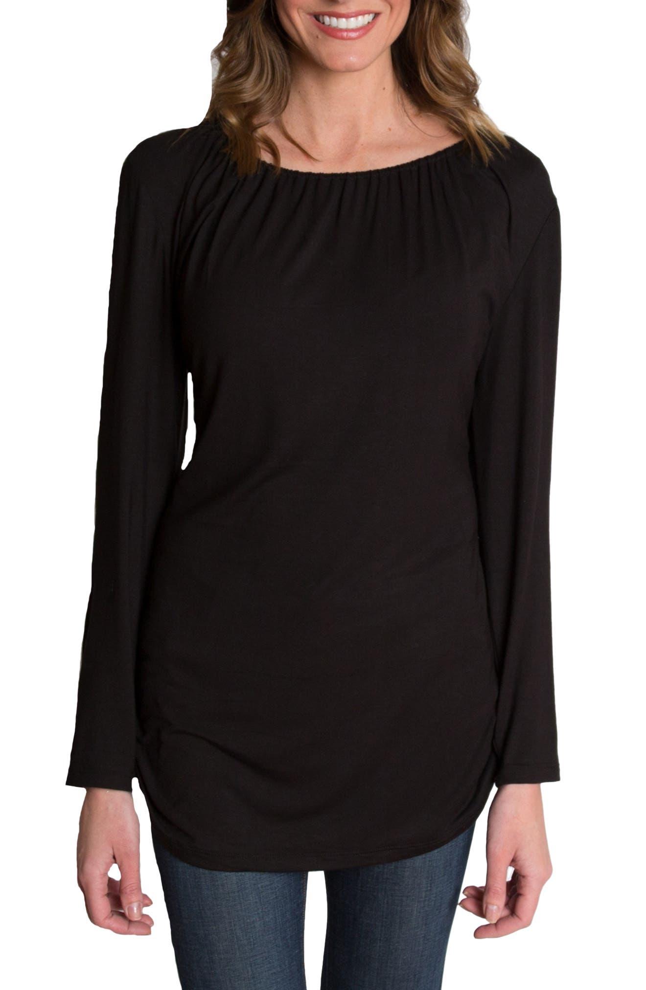 UDDERLY HOT MAMA, 'Luxe' Long Sleeve Nursing Tee, Alternate thumbnail 4, color, BLACK