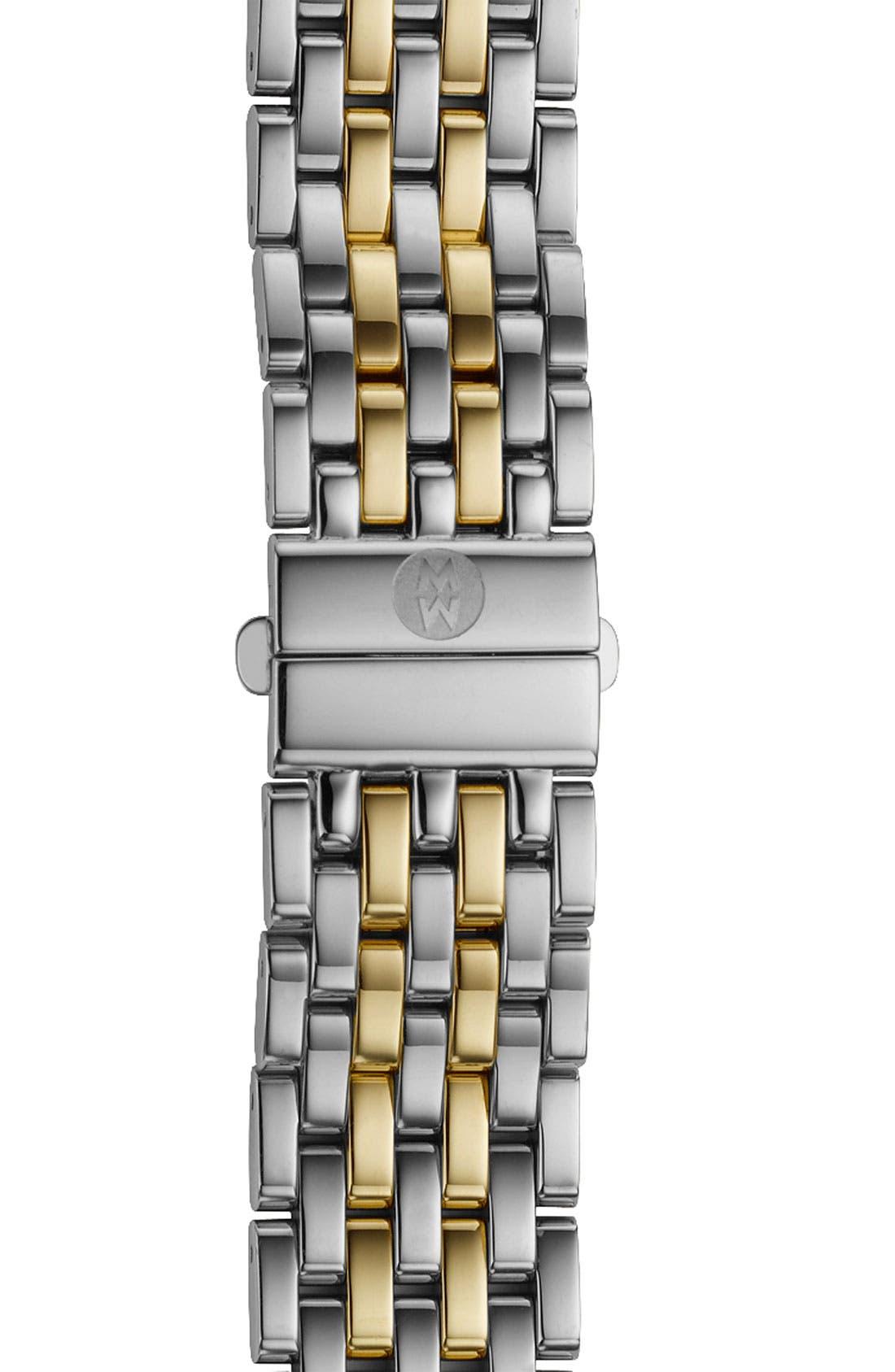 MICHELE, Deco 16 16mm Two-Tone Bracelet Watchband, Main thumbnail 1, color, SILVER/ GOLD