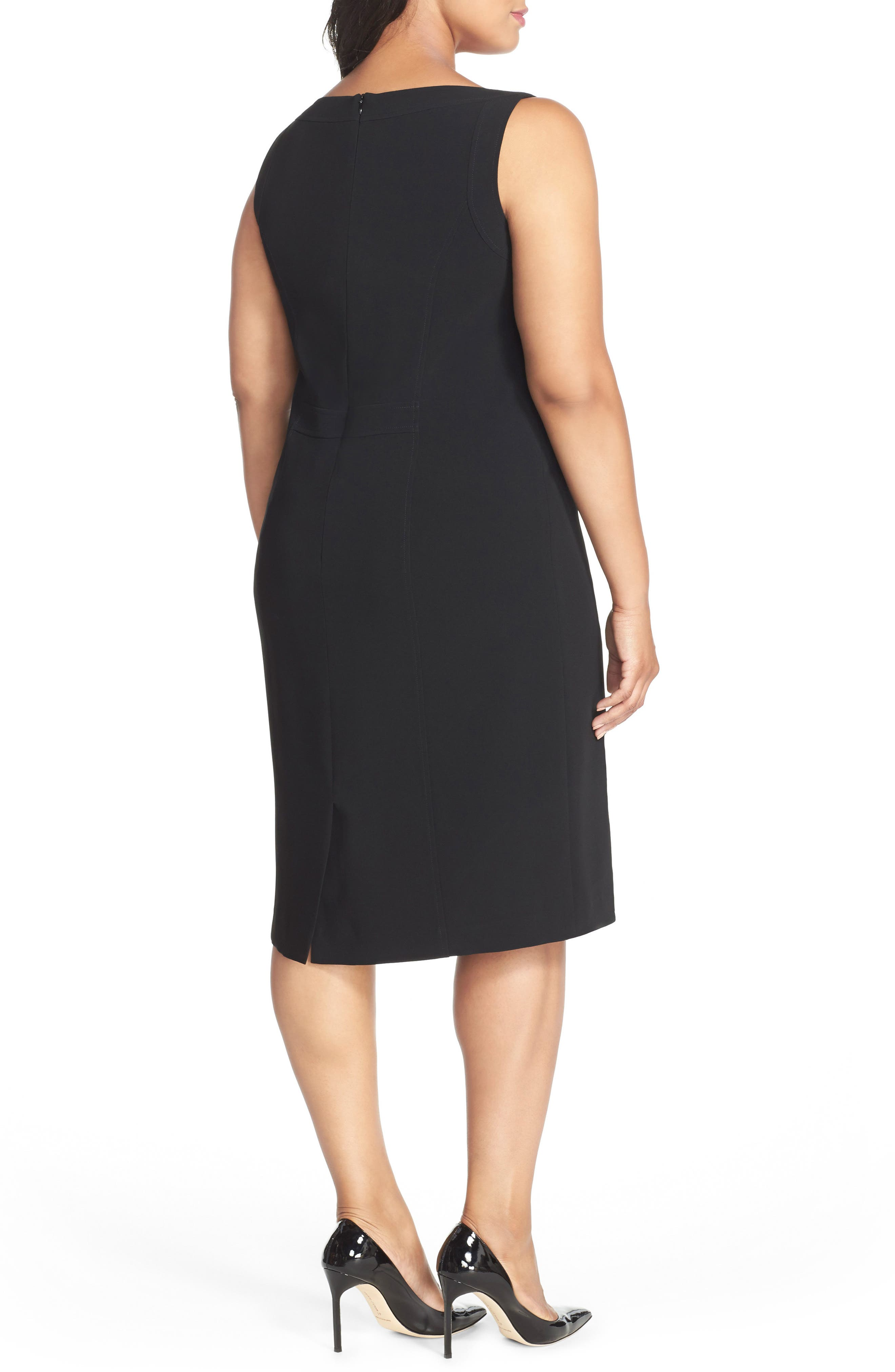 LOUBEN, Sleeveless Suiting Sheath Dress, Alternate thumbnail 2, color, BLACK